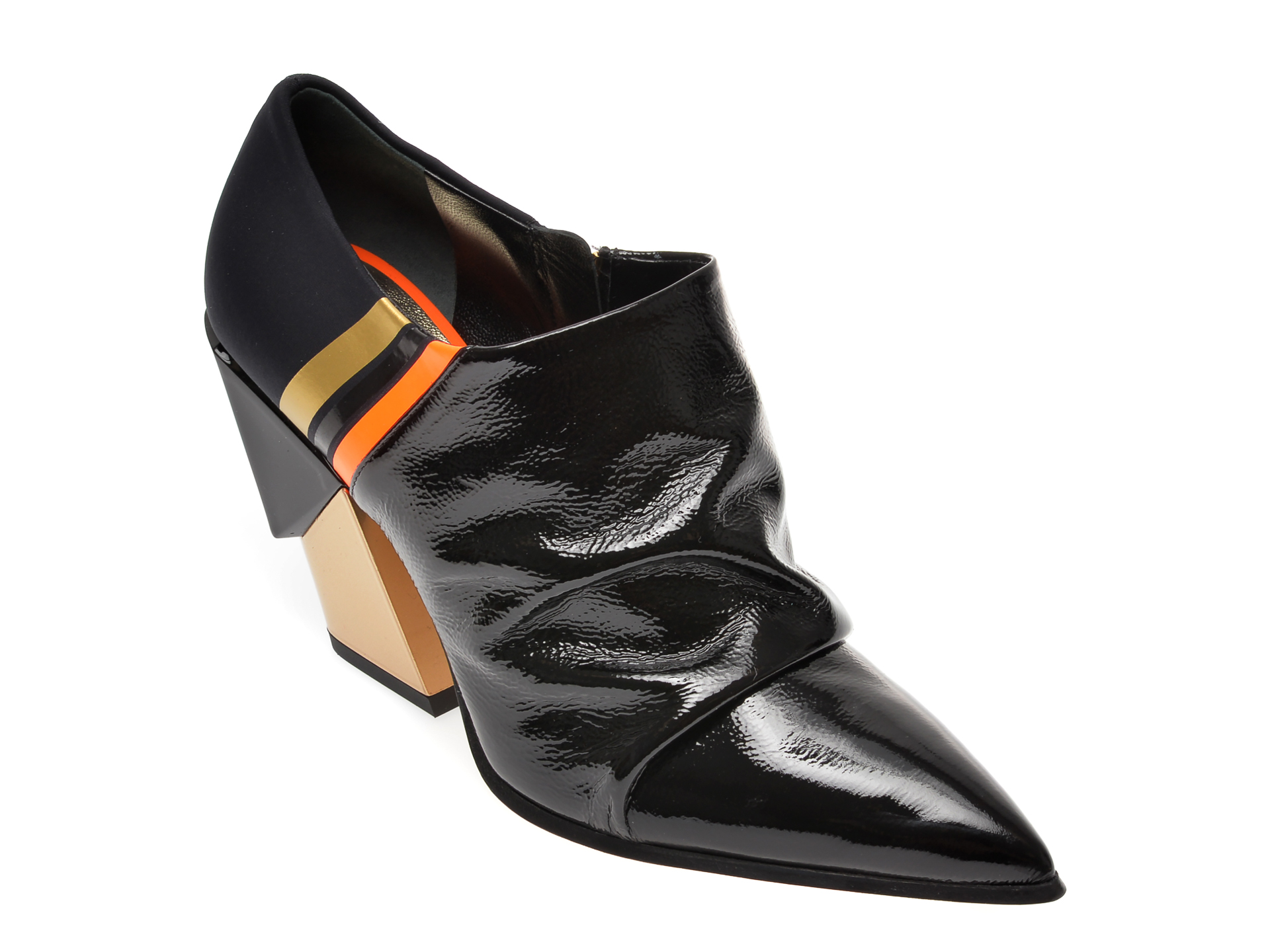 Pantofi Vara Loriblu Negri, A603, Din Piele Naturala Lacuita Si Material Textil