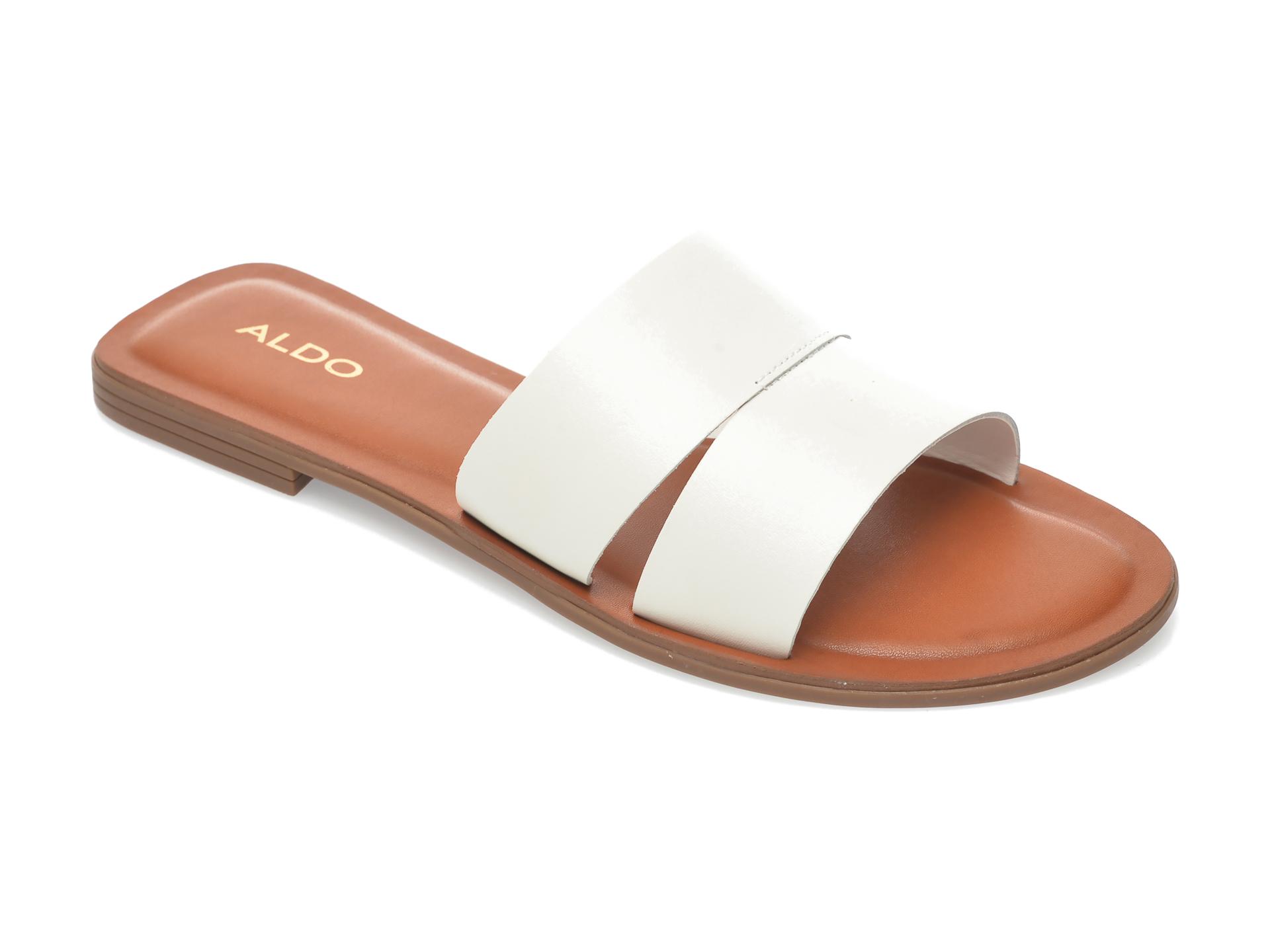 Papuci ALDO albi, Andonia100, din piele naturala imagine otter.ro 2021