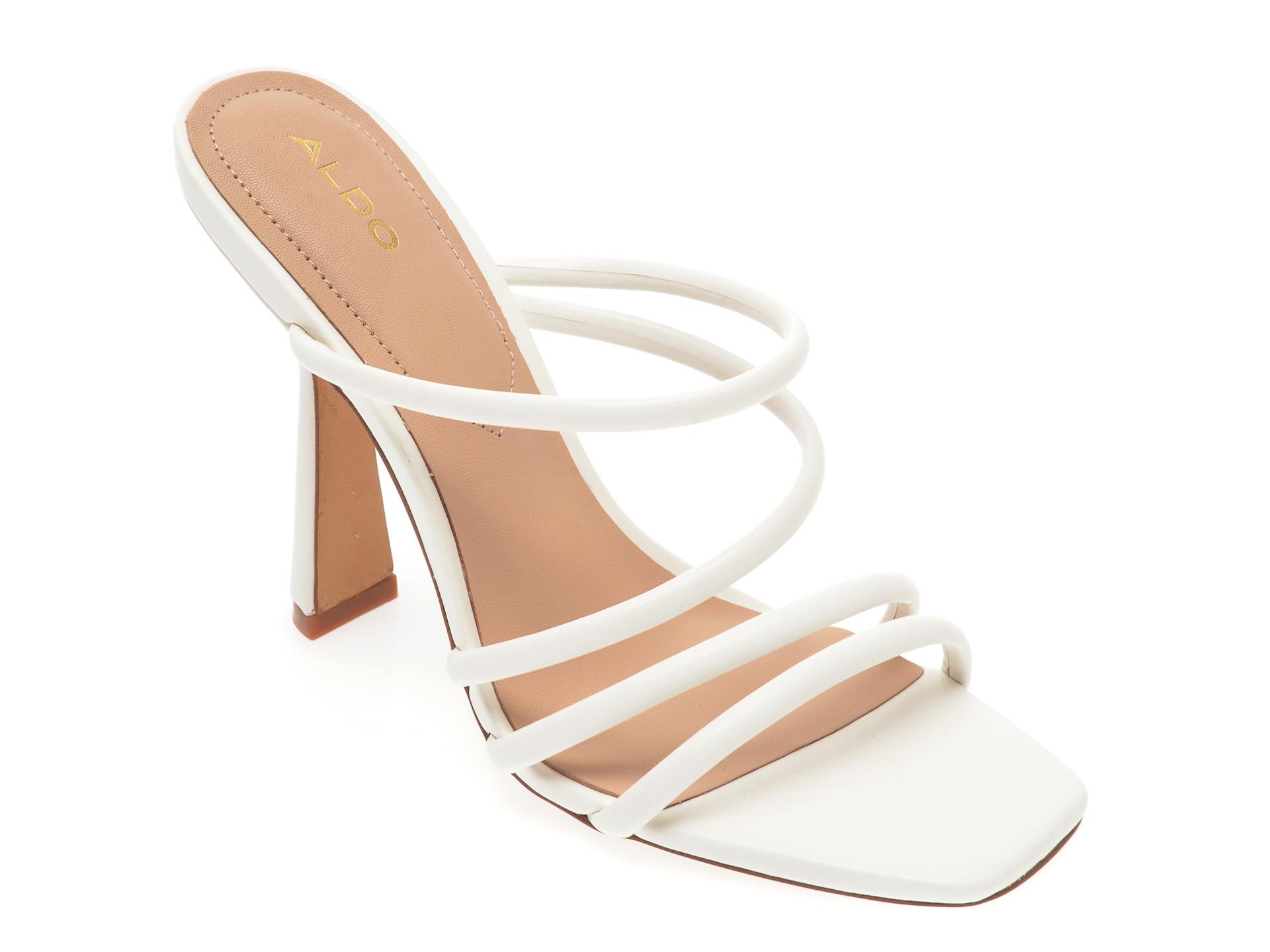 Papuci ALDO albi, Arianna100, din piele ecologica