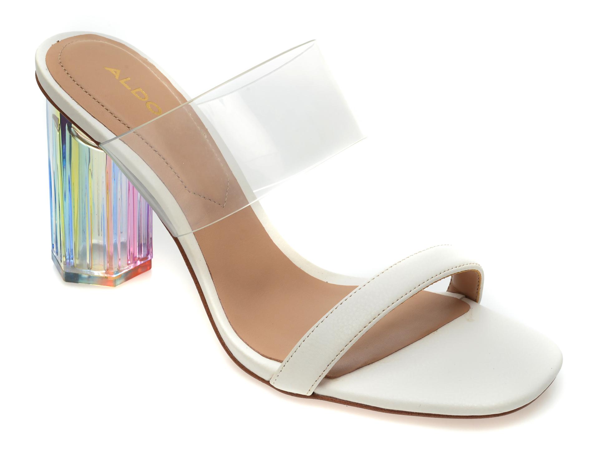Papuci ALDO albi, Clara100, din piele ecologica imagine otter.ro