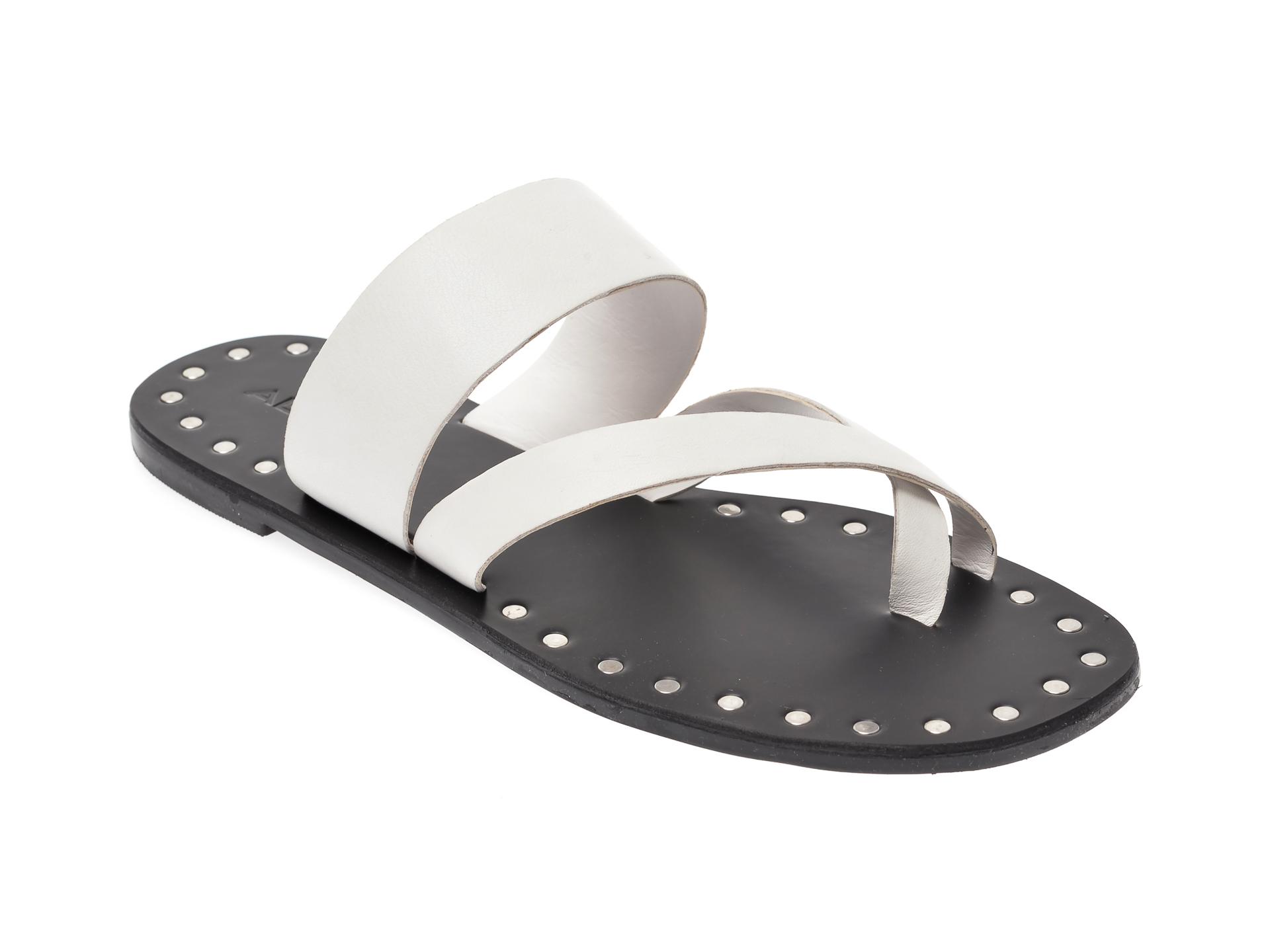 Papuci ALDO albi, Collande100, din piele naturala