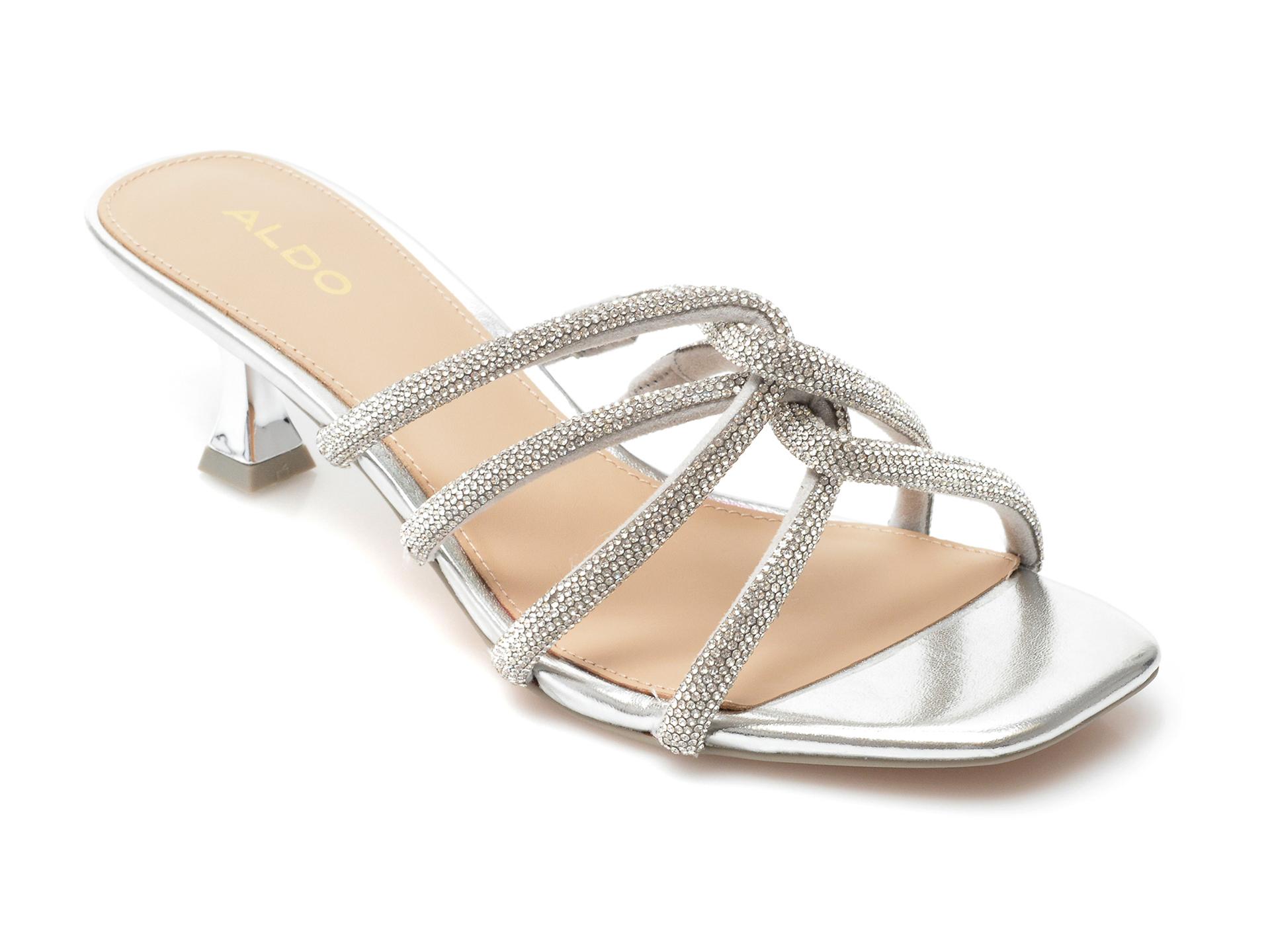Papuci ALDO argintii, Drevia601, din material textil imagine otter.ro 2021