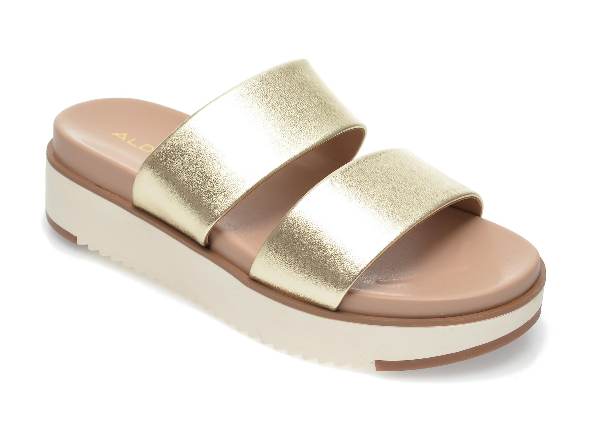 Papuci ALDO aurii, Vicet710, din piele naturala imagine otter.ro