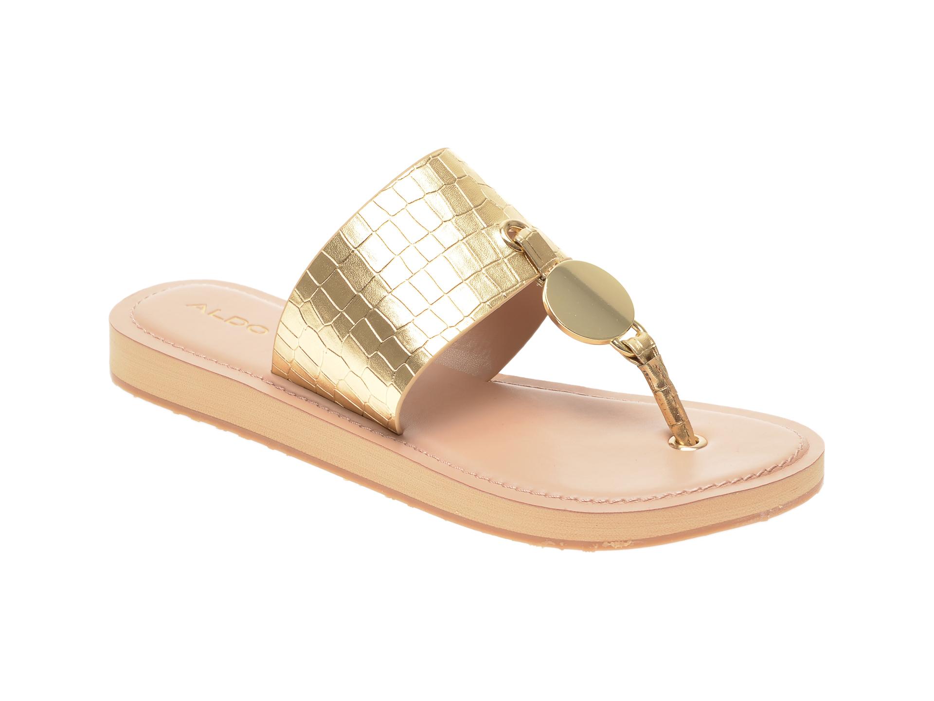 Papuci ALDO aurii, Yilania711, din piele ecologica