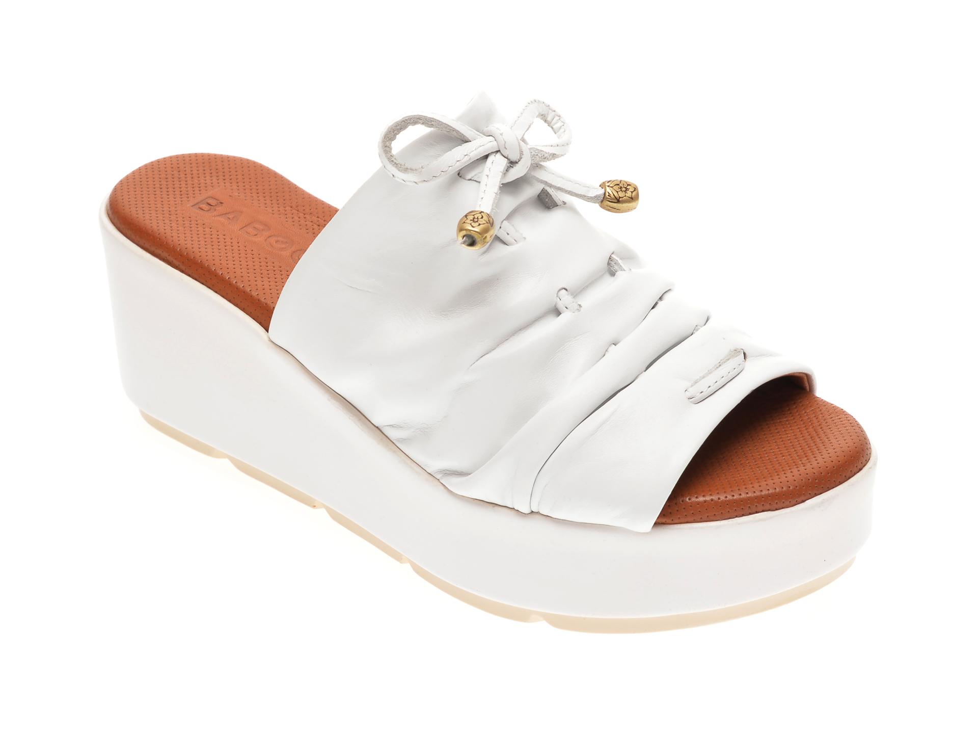 Papuci BABOOS albi, 2512, din piele naturala