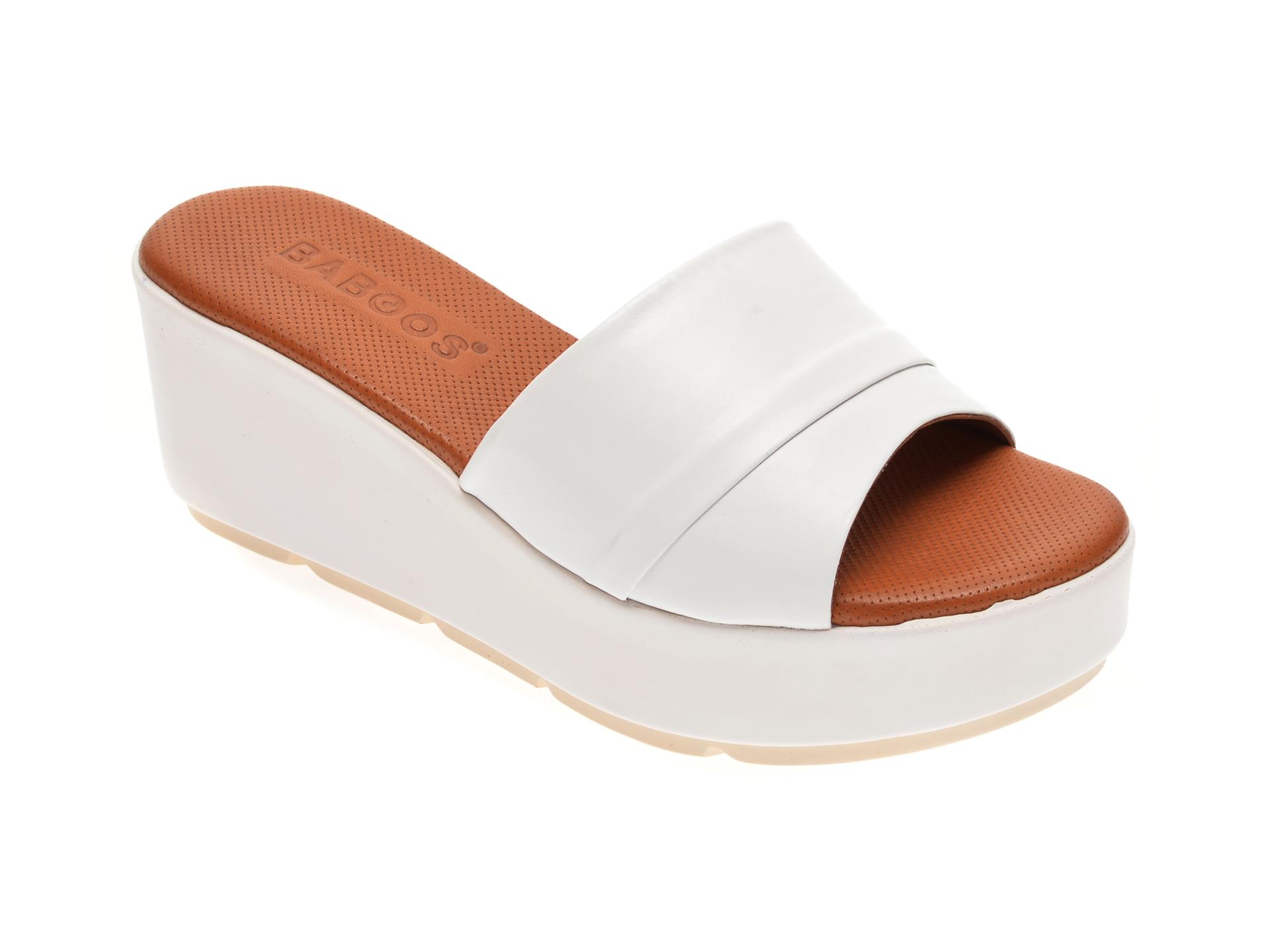 Papuci BABOOS albi, 2517, din piele naturala
