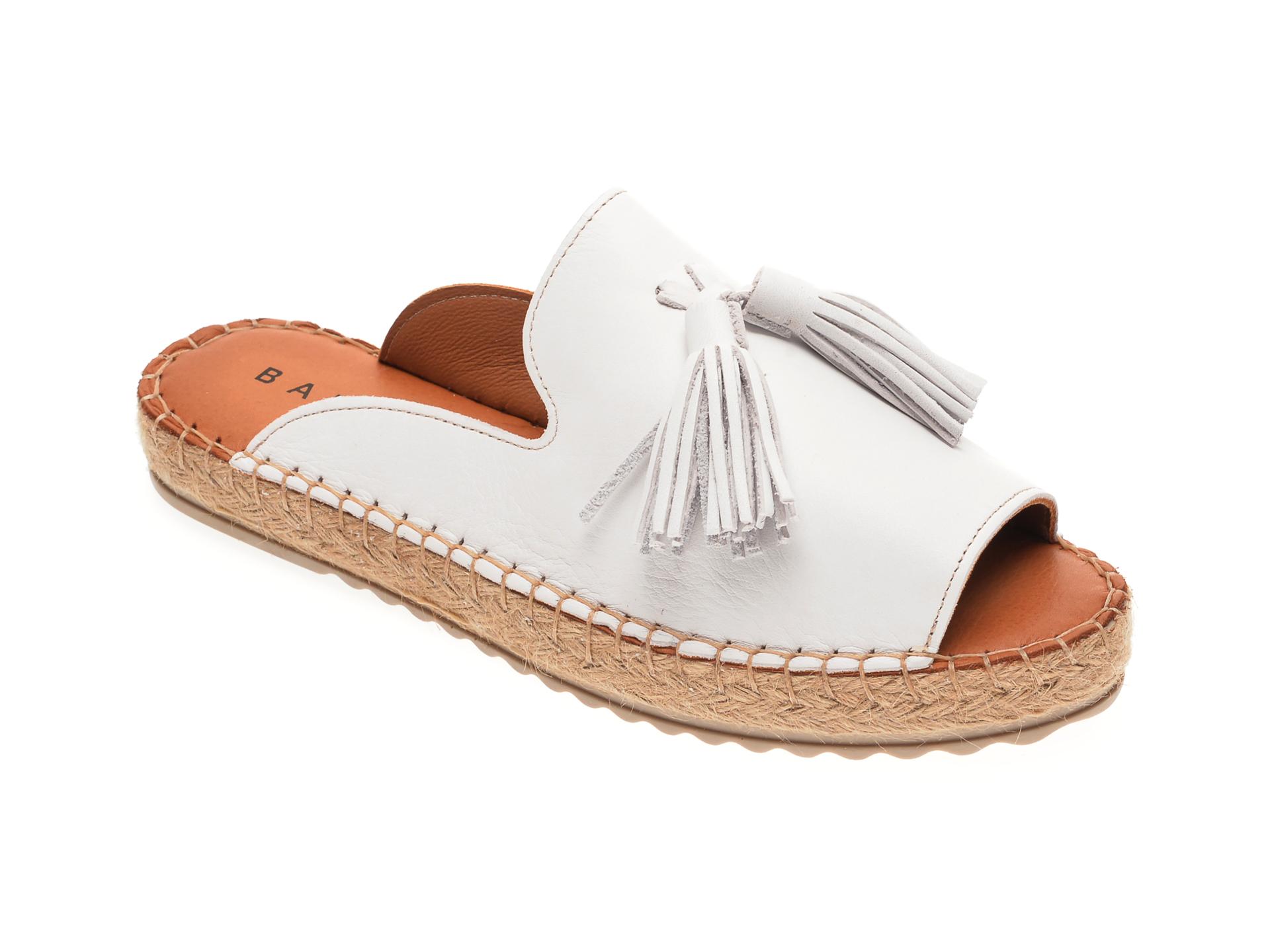 Papuci BABOOS albi, R07, din piele naturala imagine