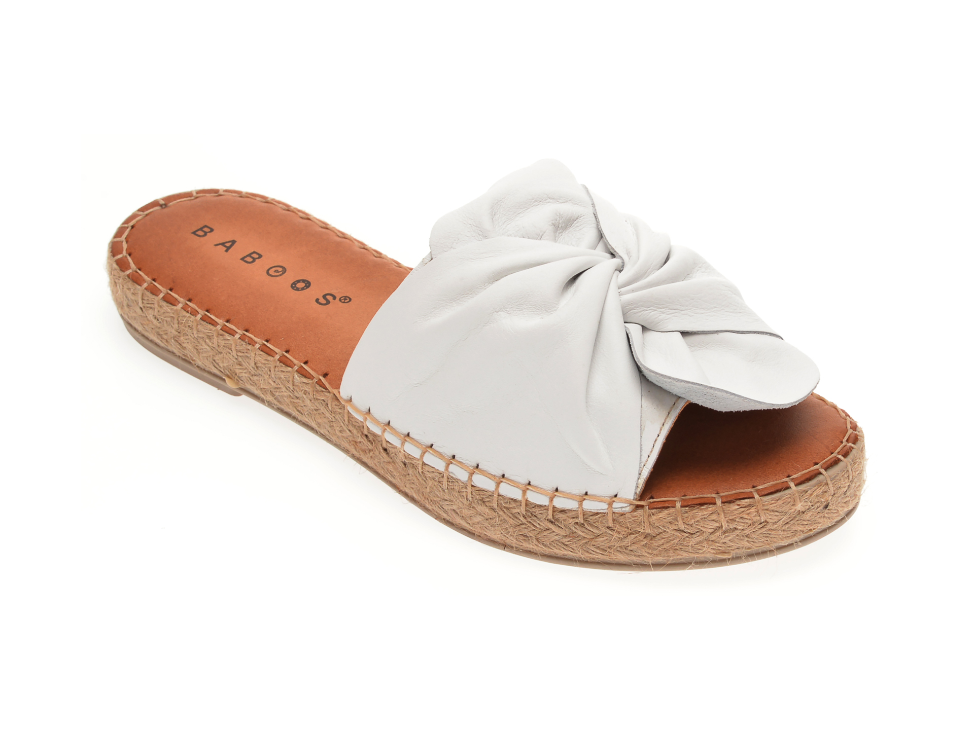 Papuci BABOOS albi, R08, din piele naturala