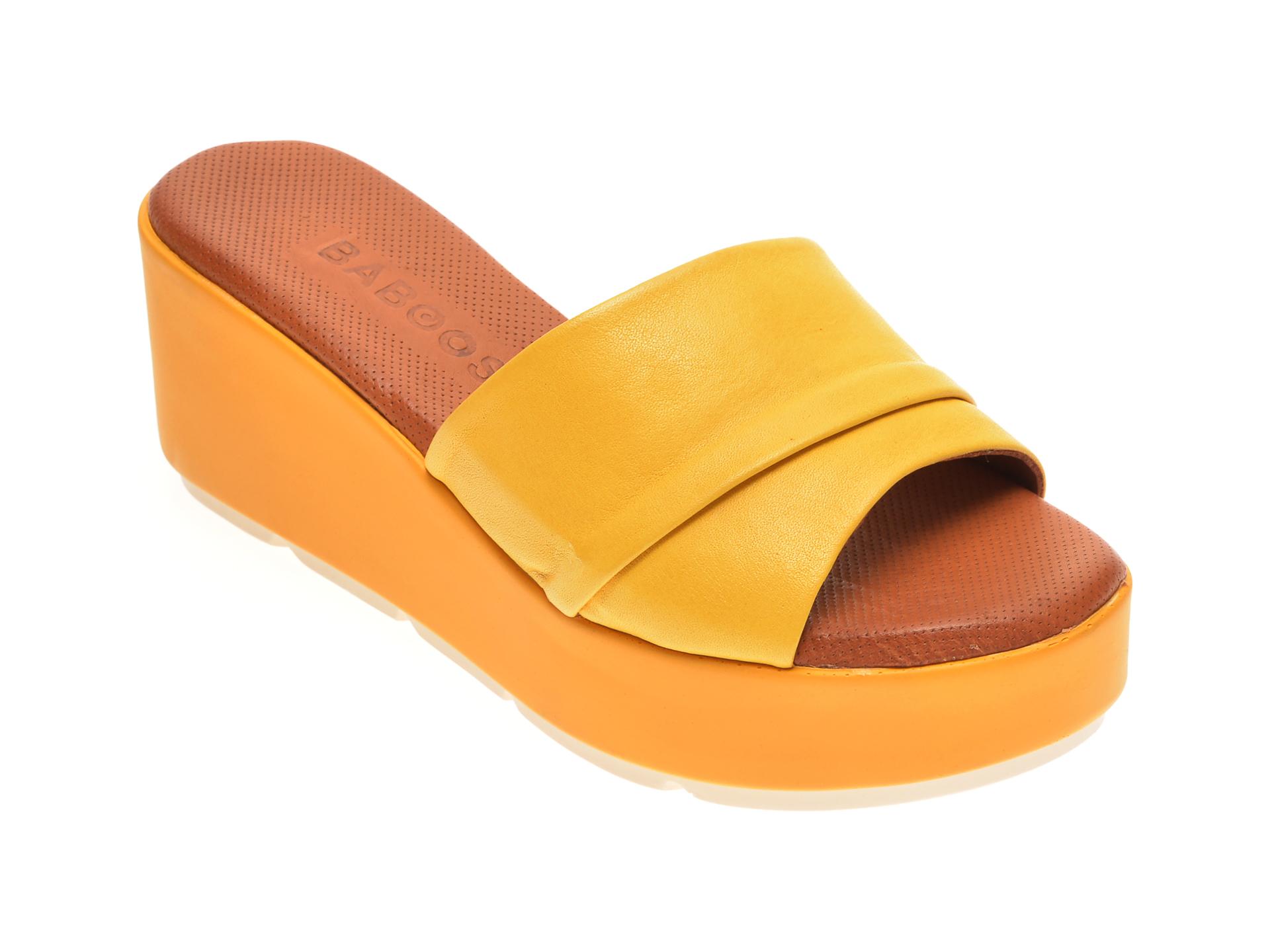 Papuci BABOOS galbeni, 2517, din piele naturala