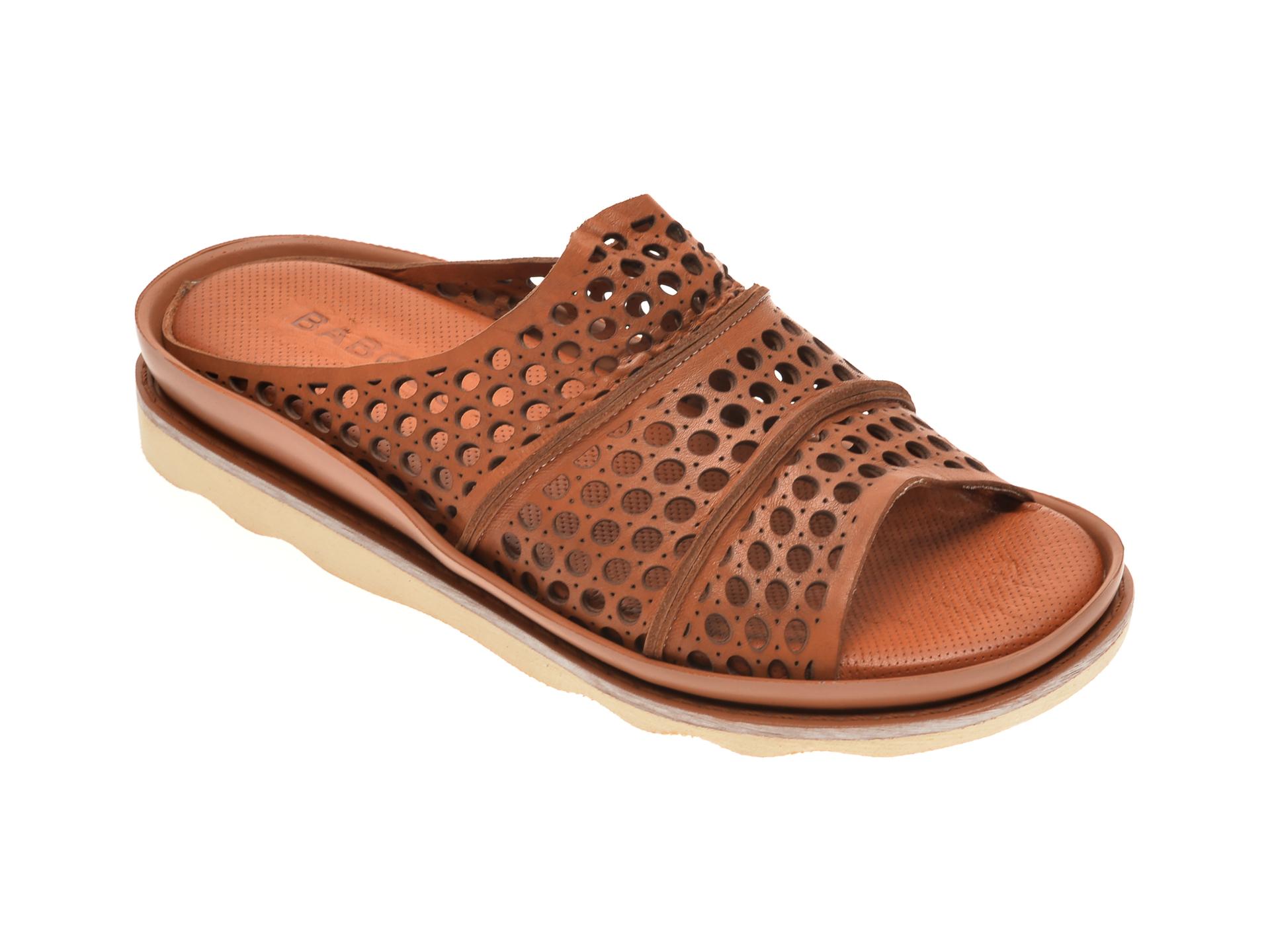 Papuci BABOOS maro, 0405, din piele naturala