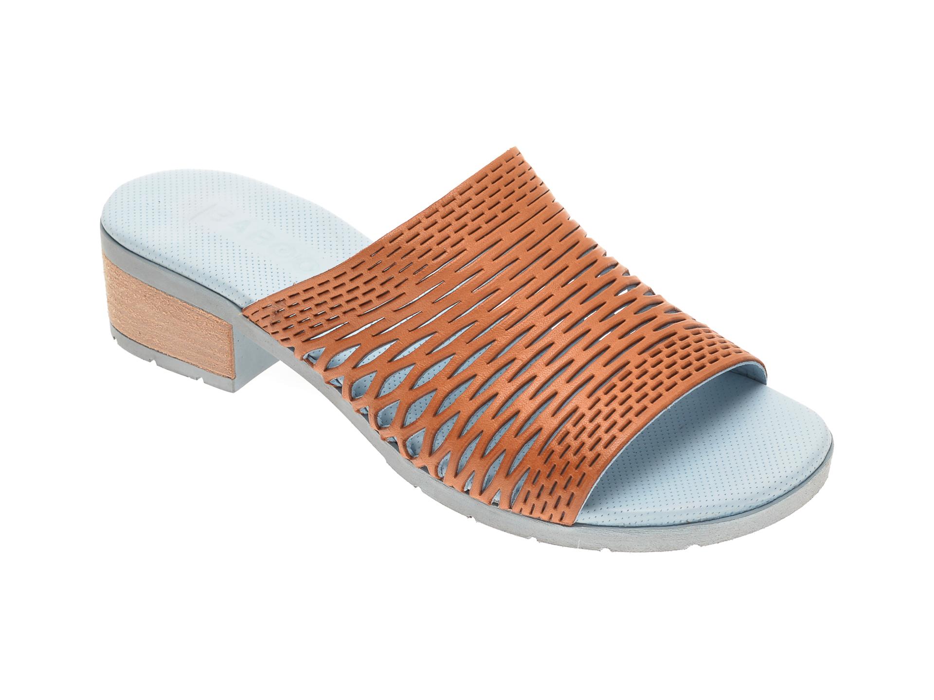 Papuci BABOOS maro, 1502, din piele naturala