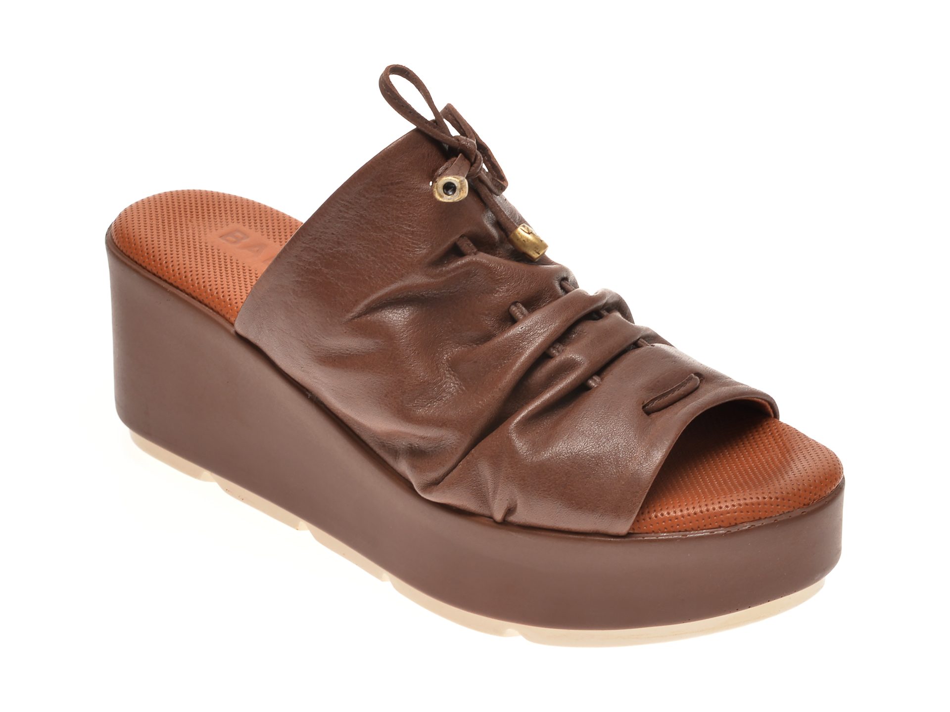 Papuci BABOOS maro, 2512, din piele naturala imagine