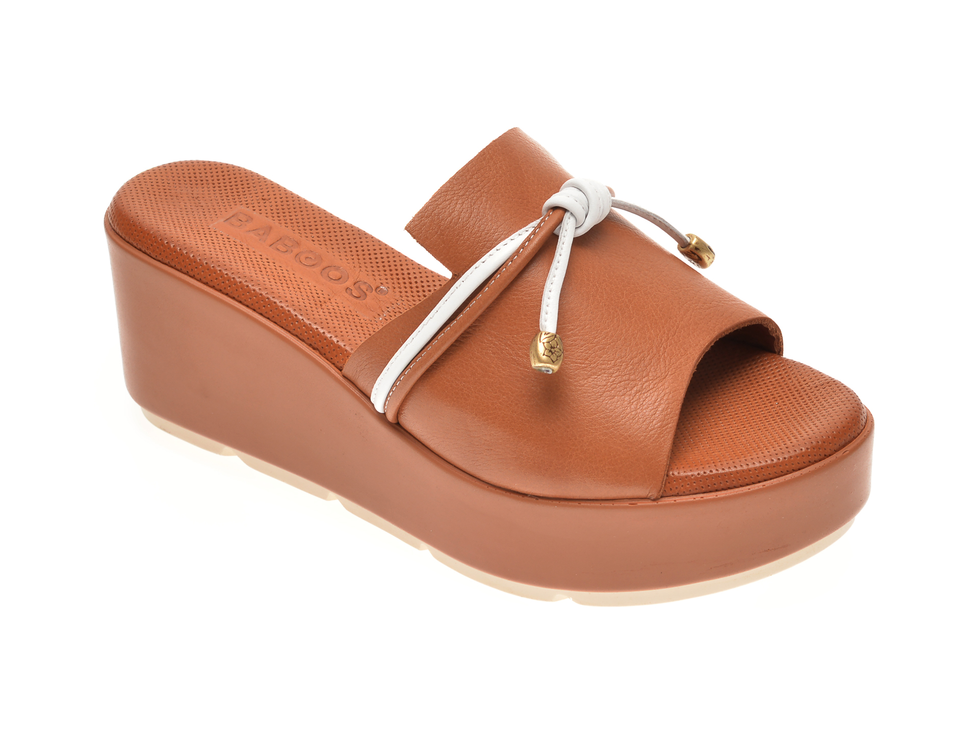 Papuci BABOOS maro, 2516, din piele intoarsa