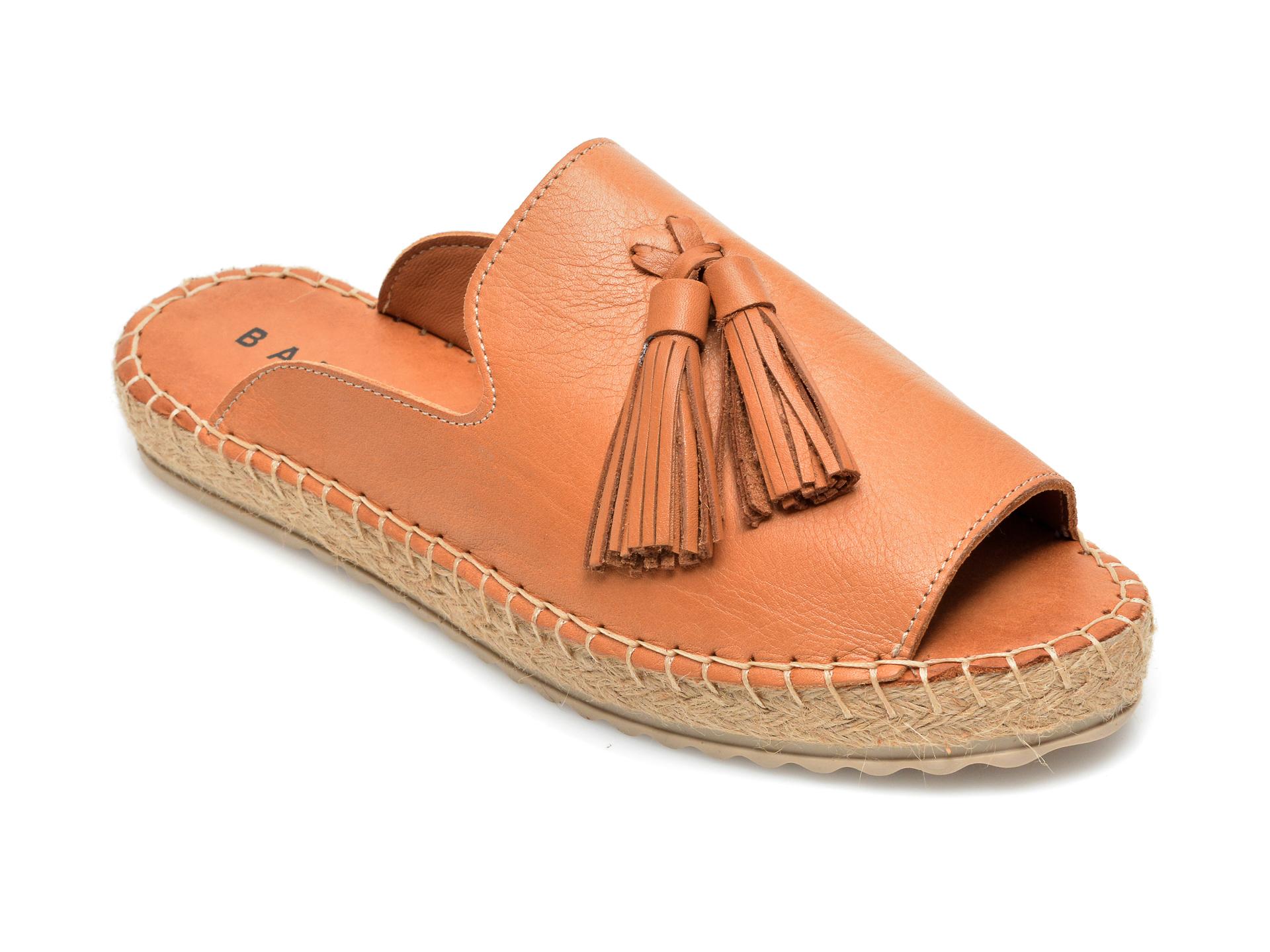 Papuci BABOOS maro, R07, din piele naturala imagine otter.ro