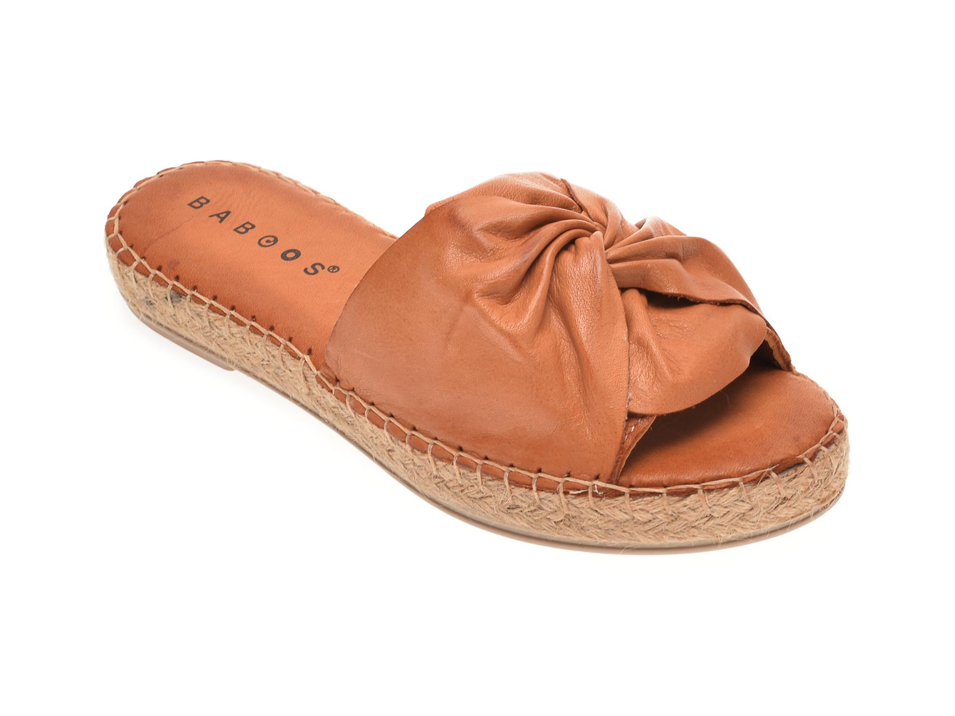 Papuci BABOOS maro, R08, din piele naturala
