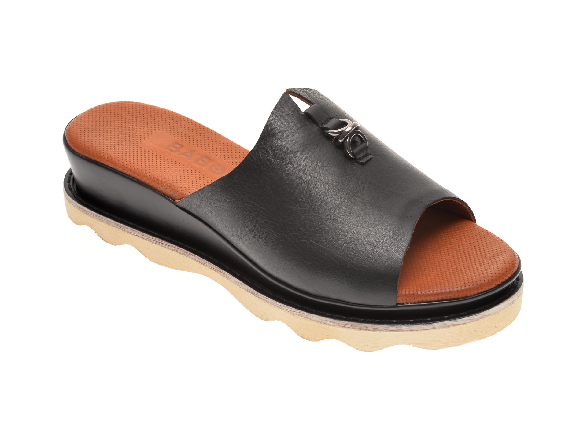 Papuci BABOOS negri, 0207, din piele naturala