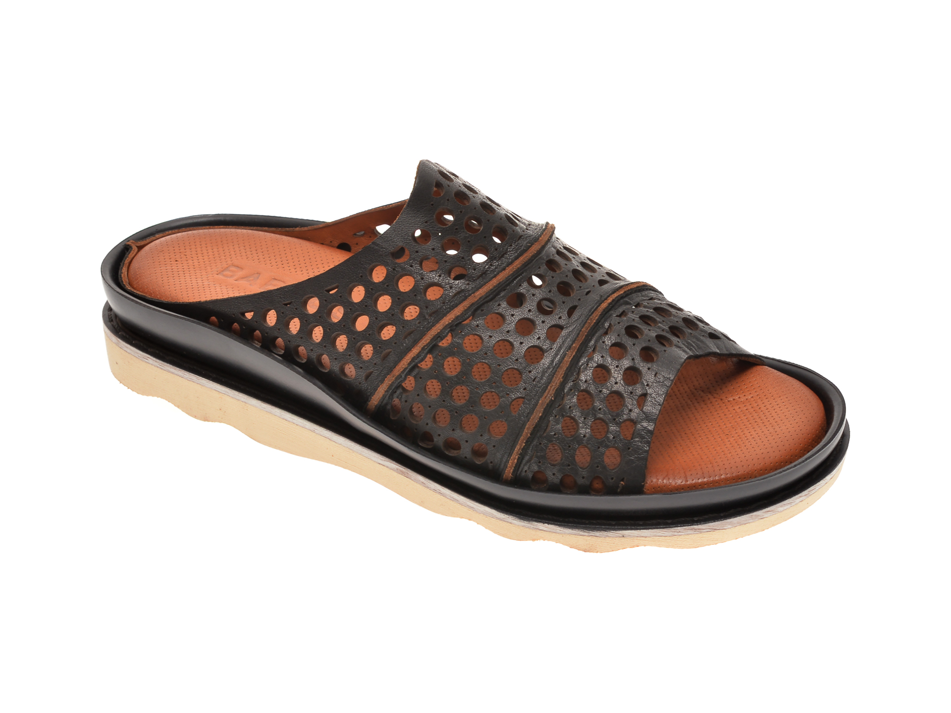 Papuci BABOOS negri, 0405, din piele naturala