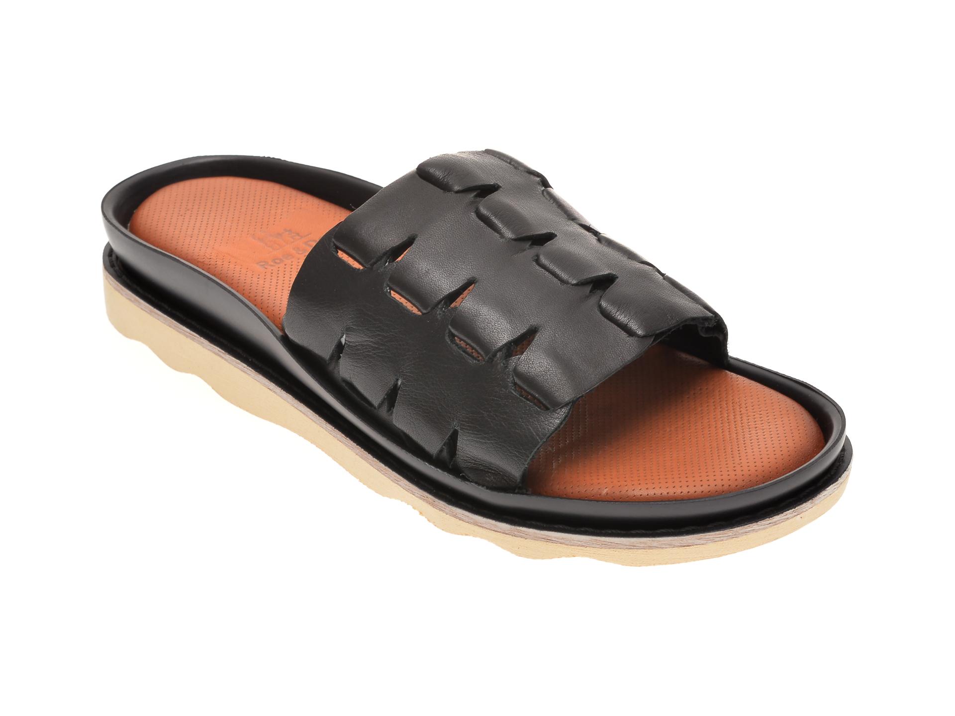 Papuci BABOOS negri, 0407, din piele naturala imagine