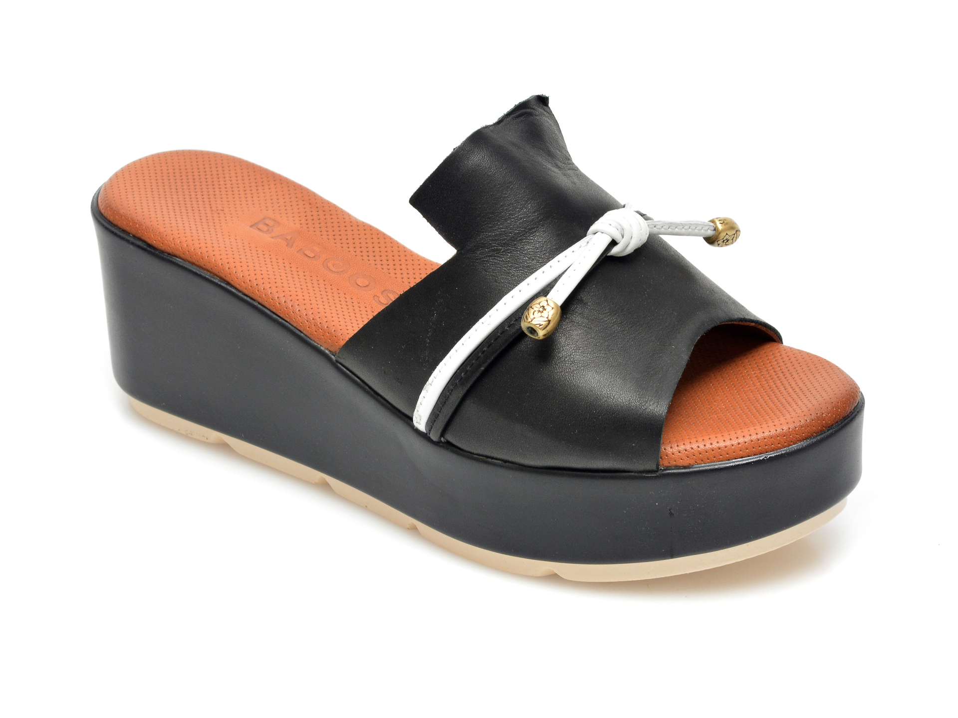 Papuci BABOOS negri, 2516, din piele naturala imagine otter.ro