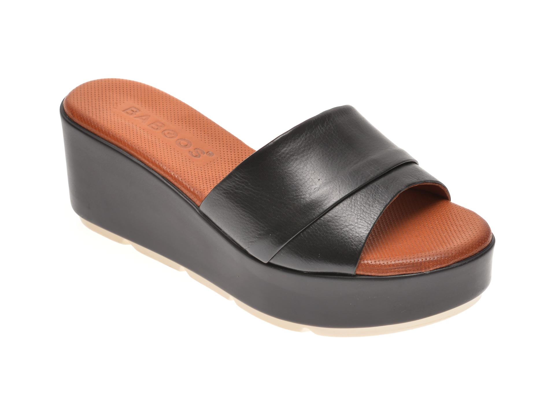 Papuci BABOOS negri, 2517, din piele naturala