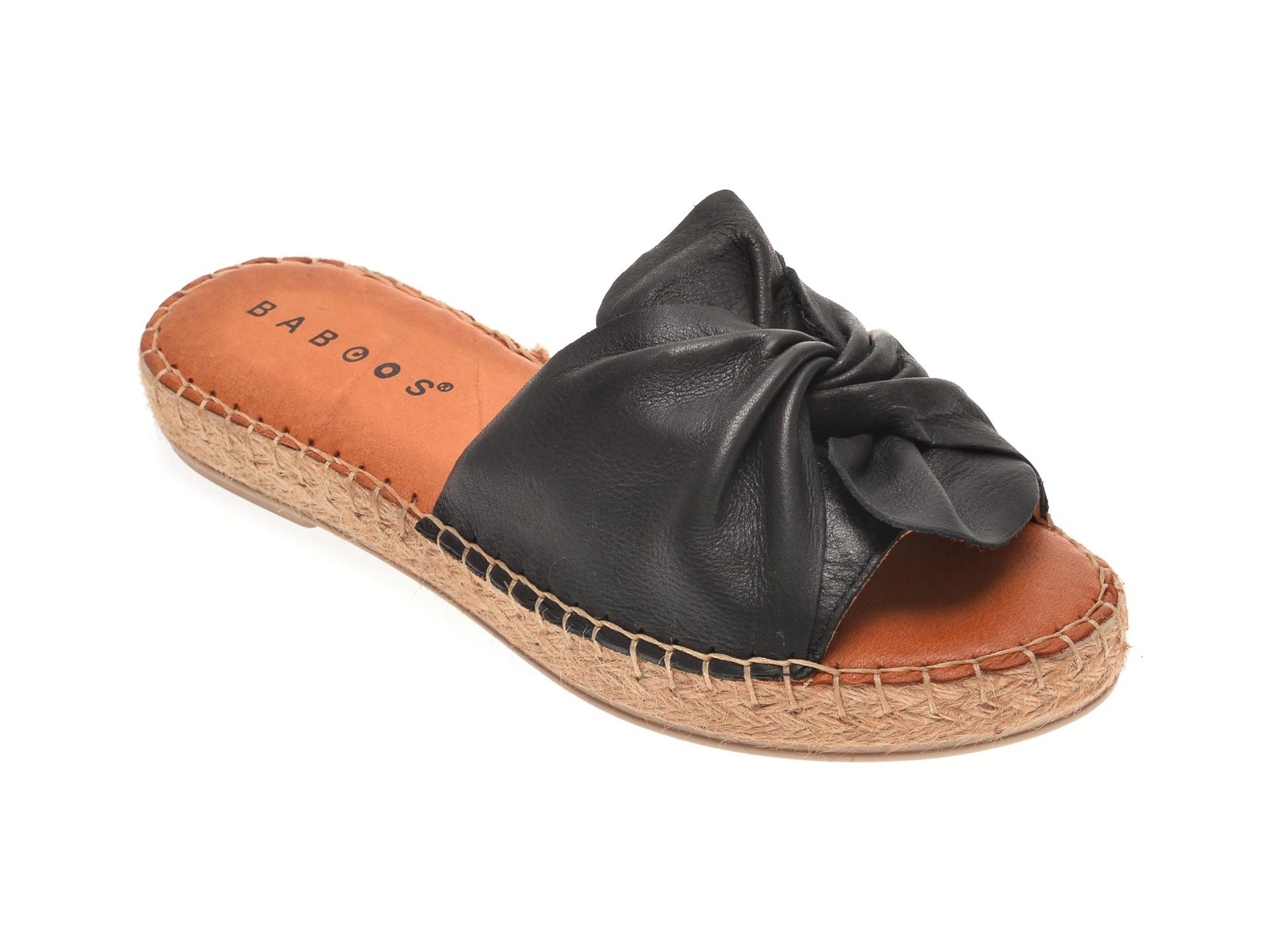 Papuci BABOOS negri, R08, din piele naturala