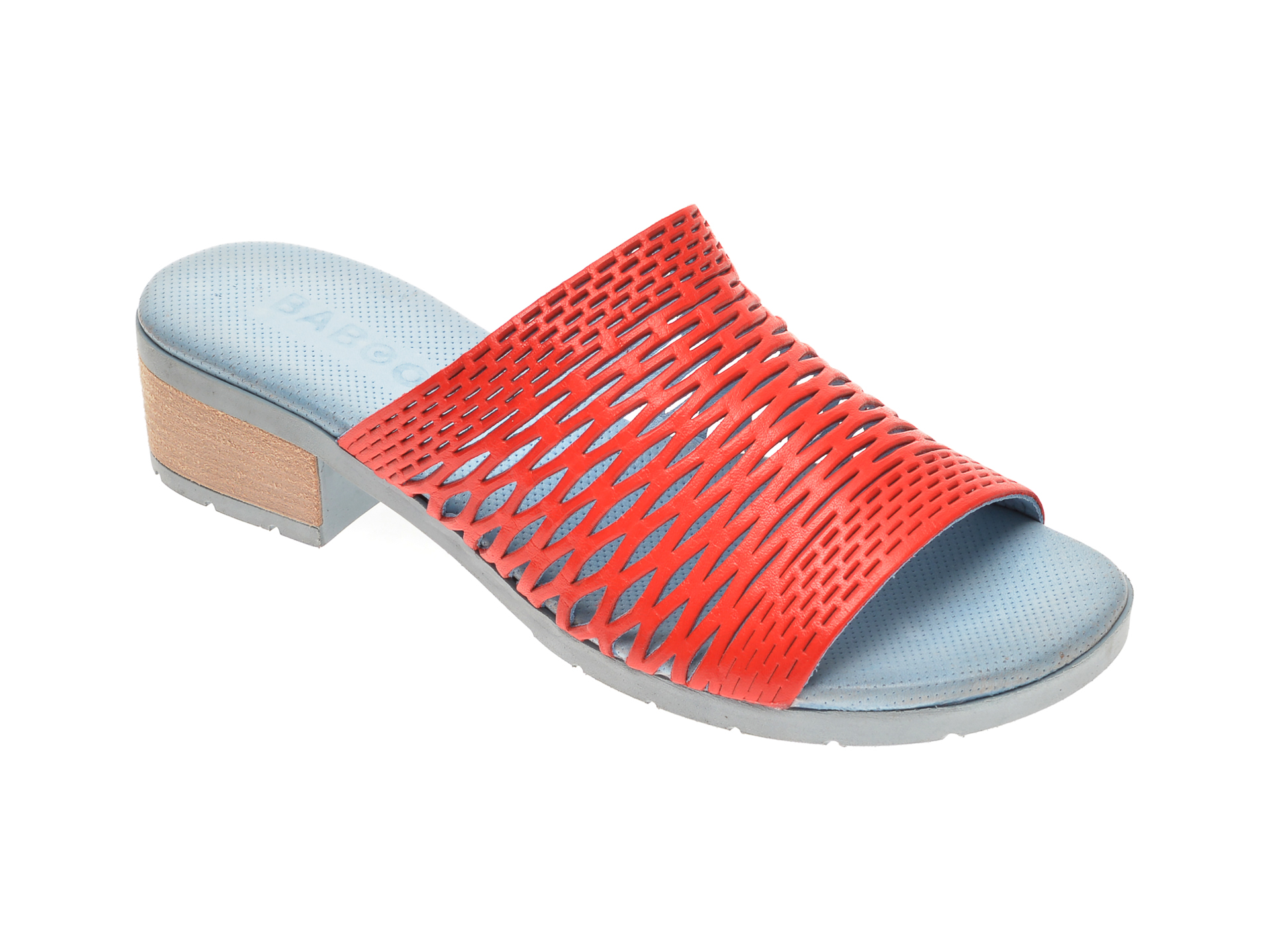 Papuci BABOOS rosii, 1502, din piele naturala