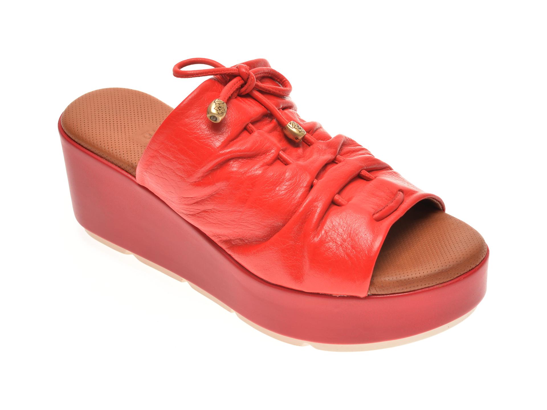 Papuci BABOOS rosii, 2512, din piele naturala