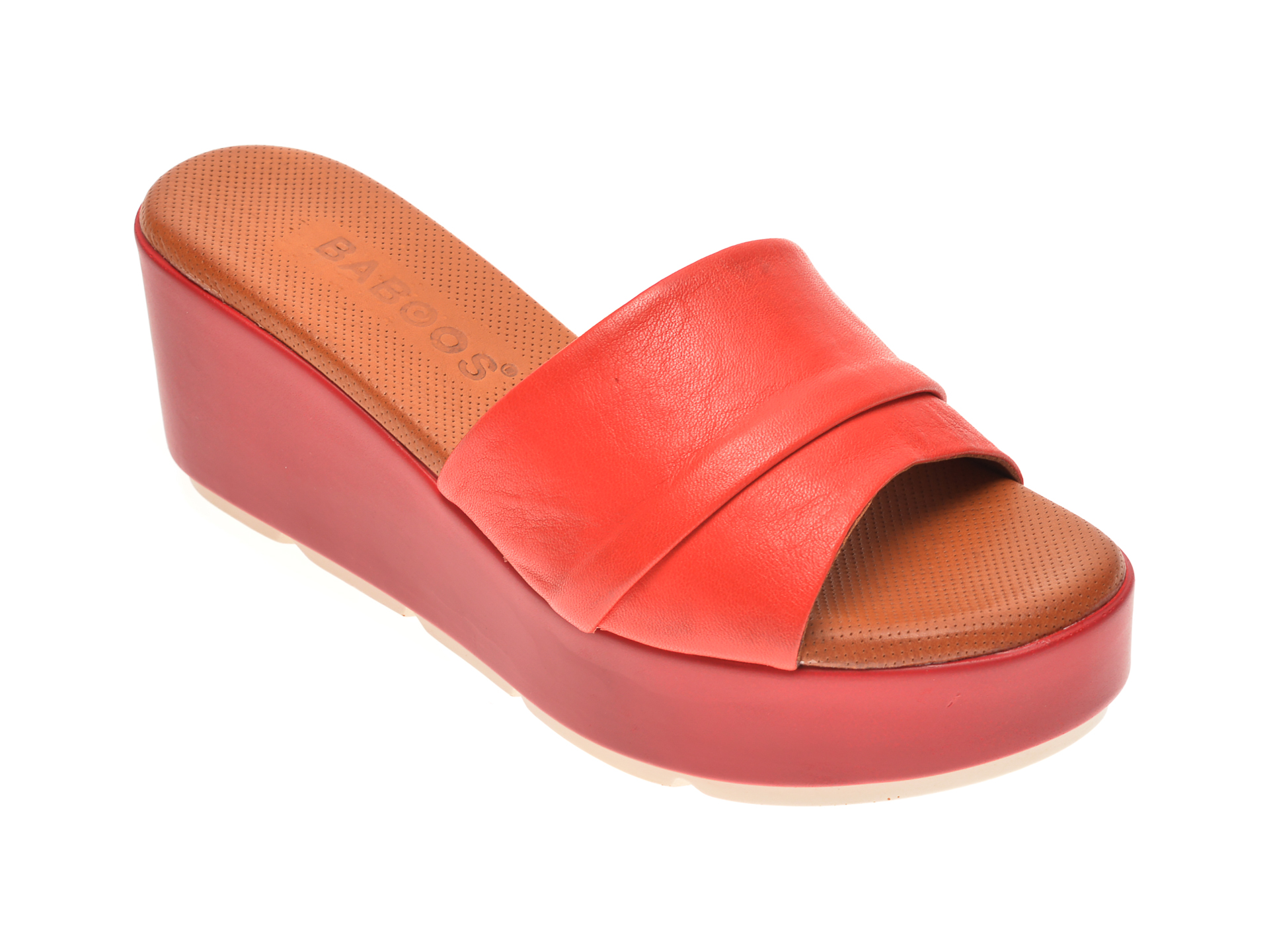 Papuci BABOOS rosii, 2517, din piele naturala