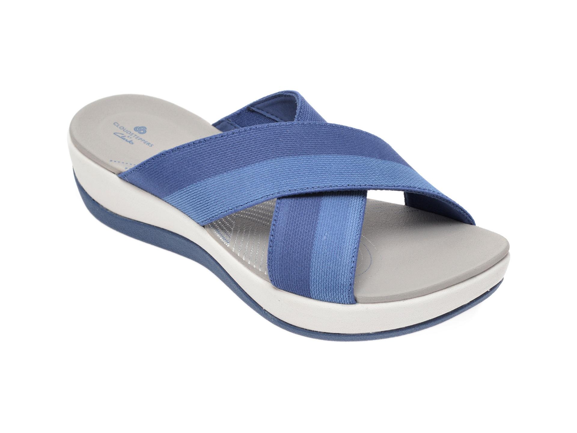 Papuci CLARKS albastri, Arla Elin, din material textil