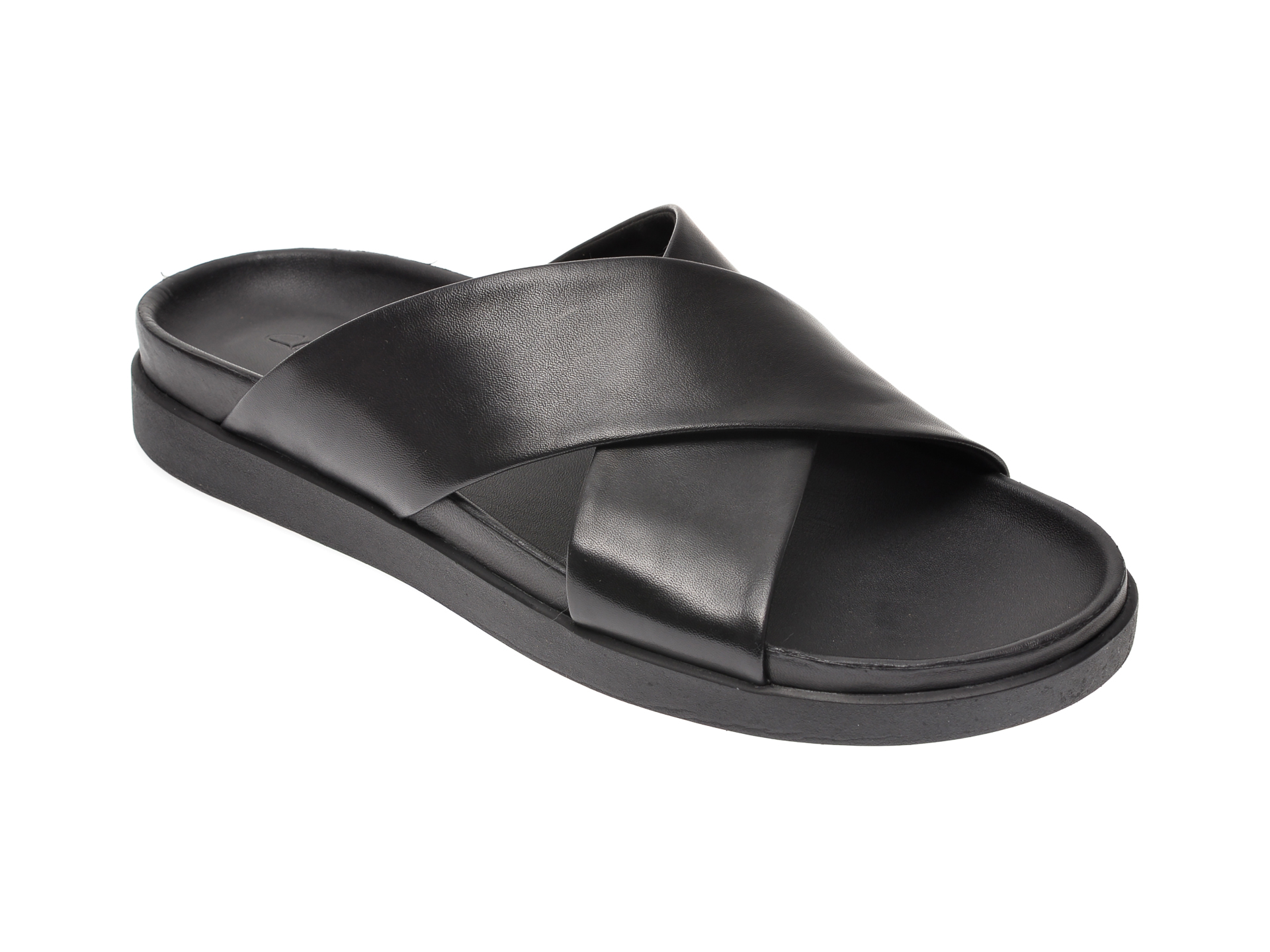 Papuci CLARKS negri, Sunder Cross, din piele naturala imagine