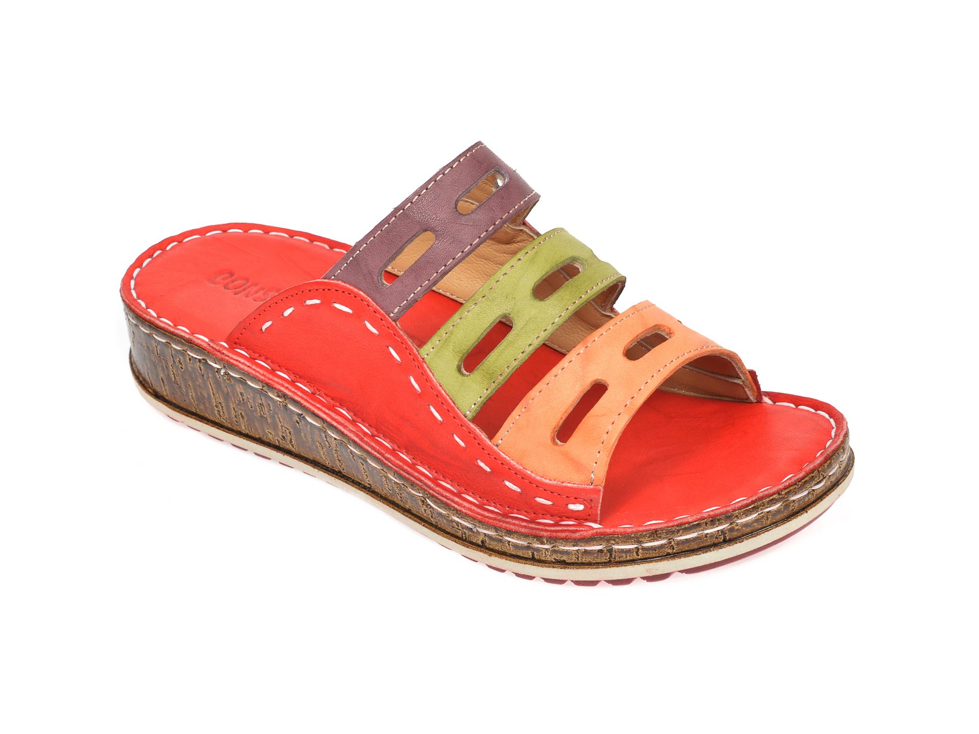 Papuci CONSUELO rosii, 1347, din piele naturala