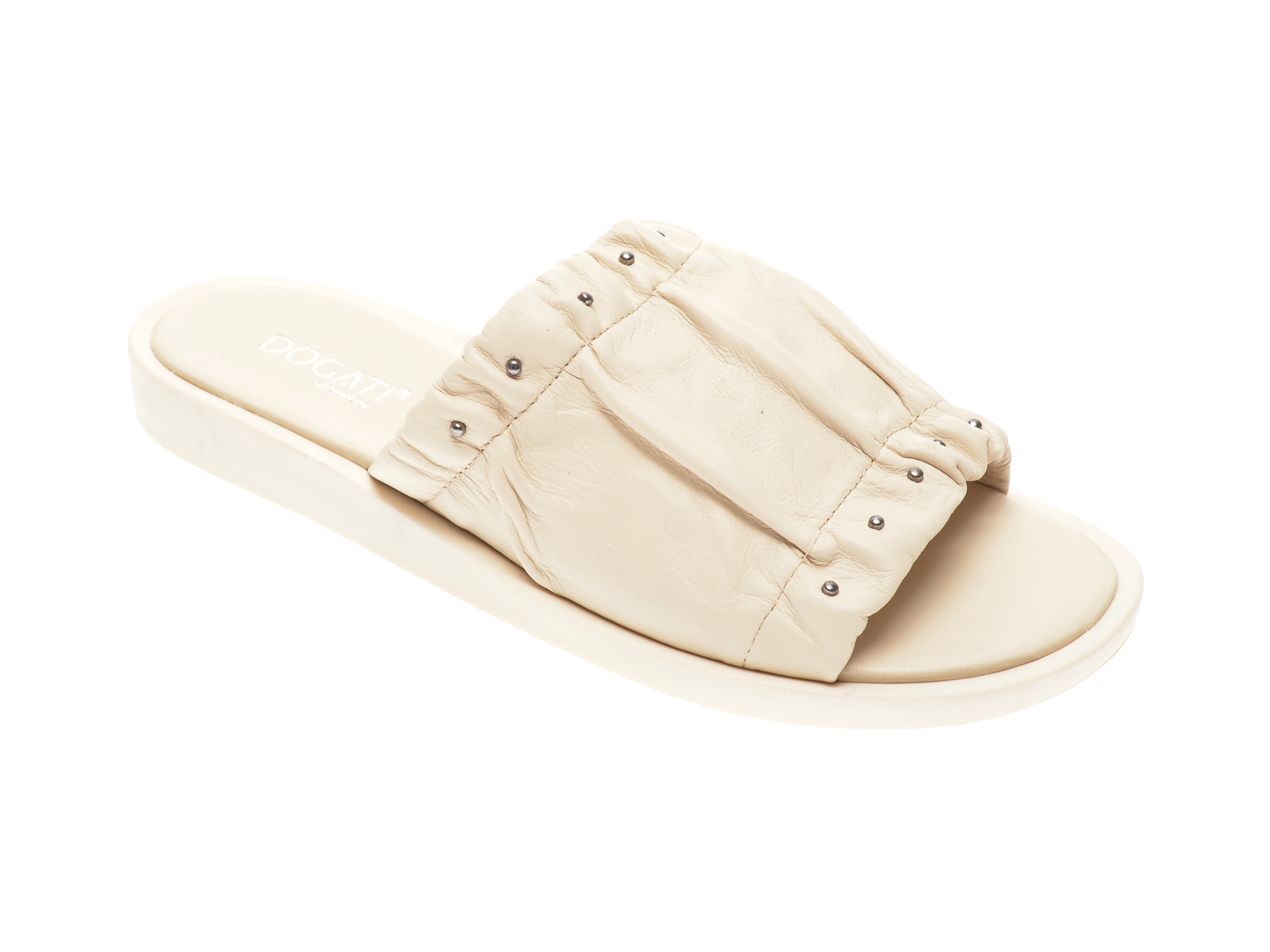 Papuci DOGATT albi, 2522, din piele naturala