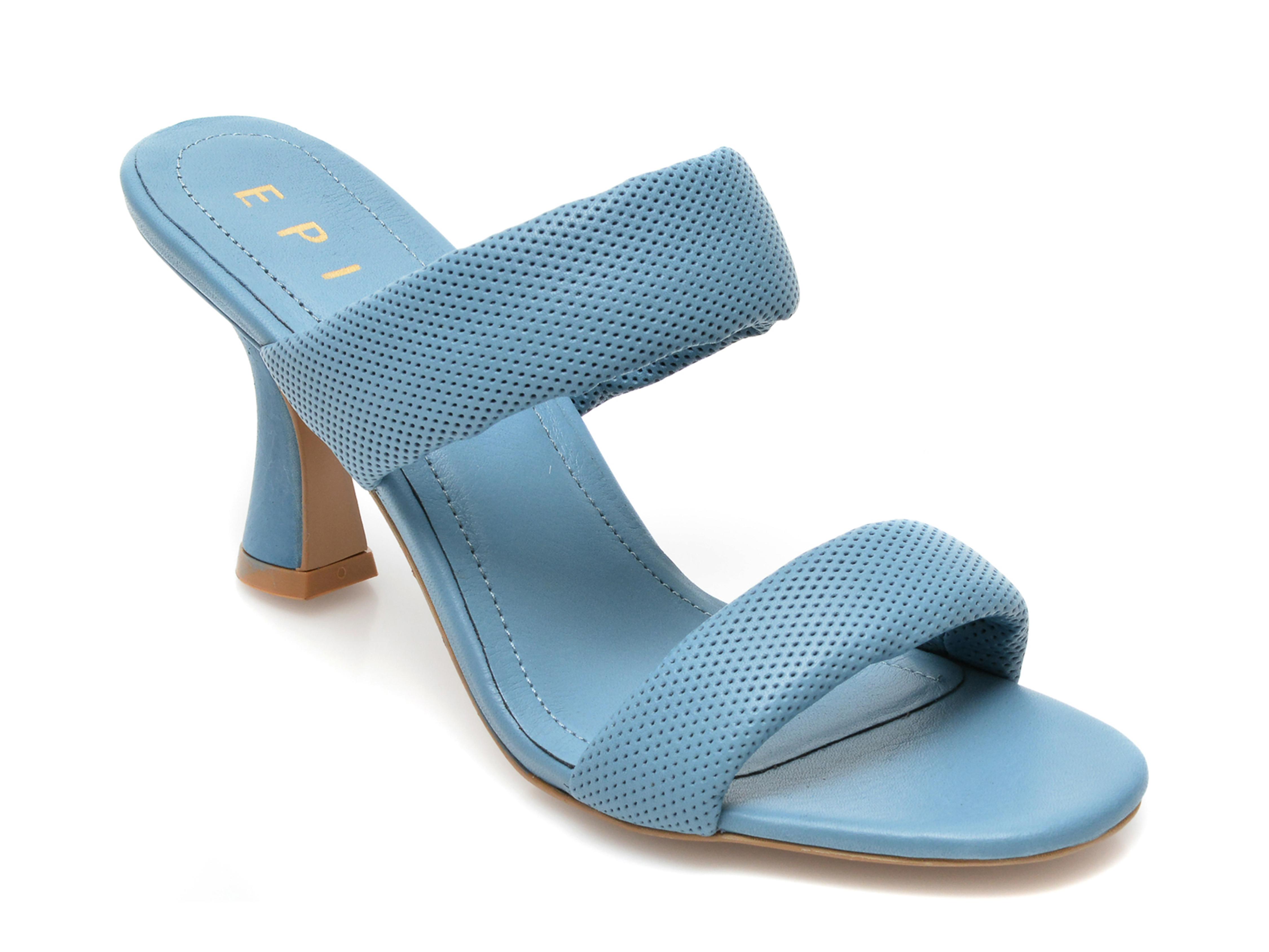 Papuci EPICA albastri, 4110, din piele naturala imagine otter.ro 2021