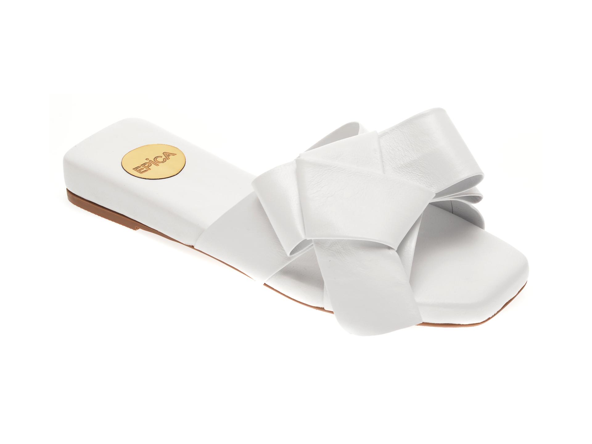 Papuci EPICA albi, LV700MI, din piele naturala