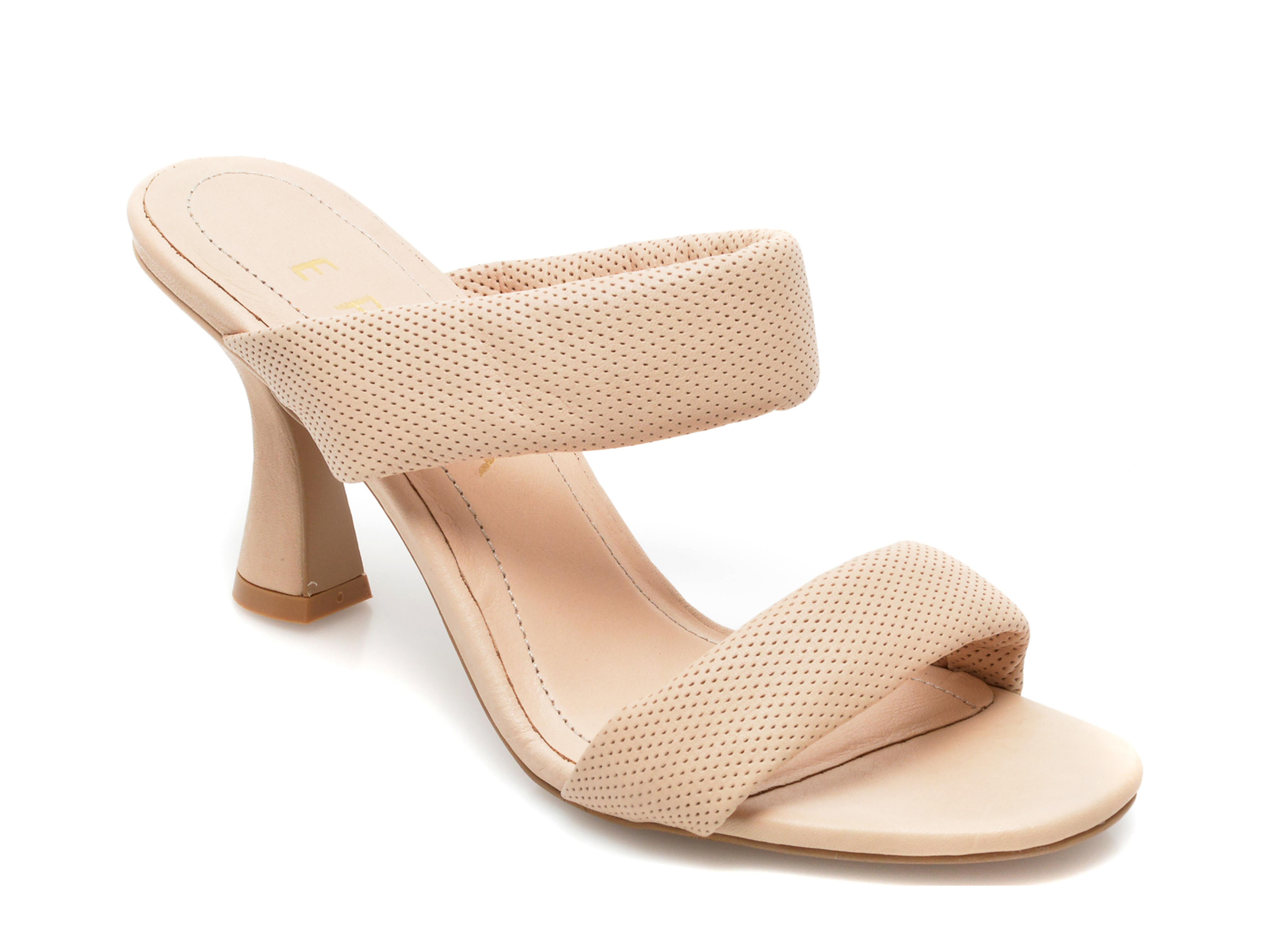 Papuci EPICA bej, 4110, din piele naturala imagine otter.ro 2021