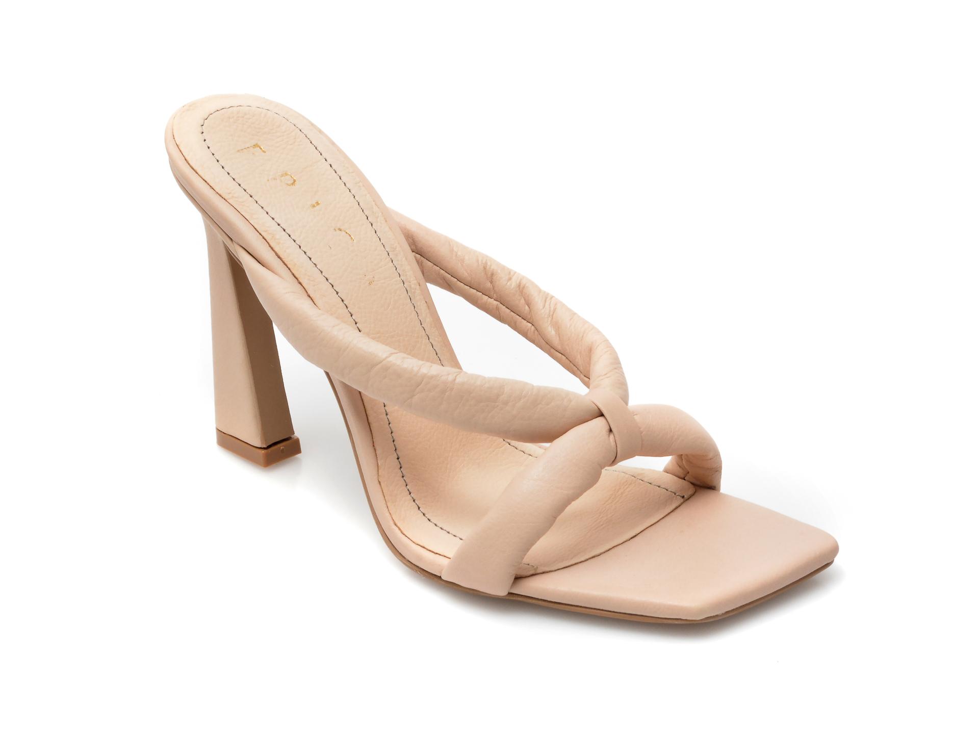 Papuci EPICA bej, 4142, din piele naturala imagine otter.ro 2021