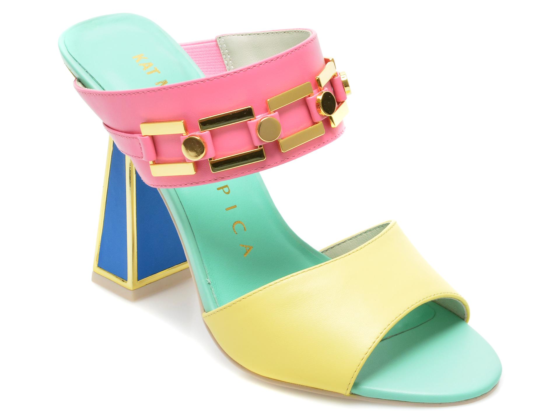Papuci KAT MACONIE multicolori, INES, din piele naturala