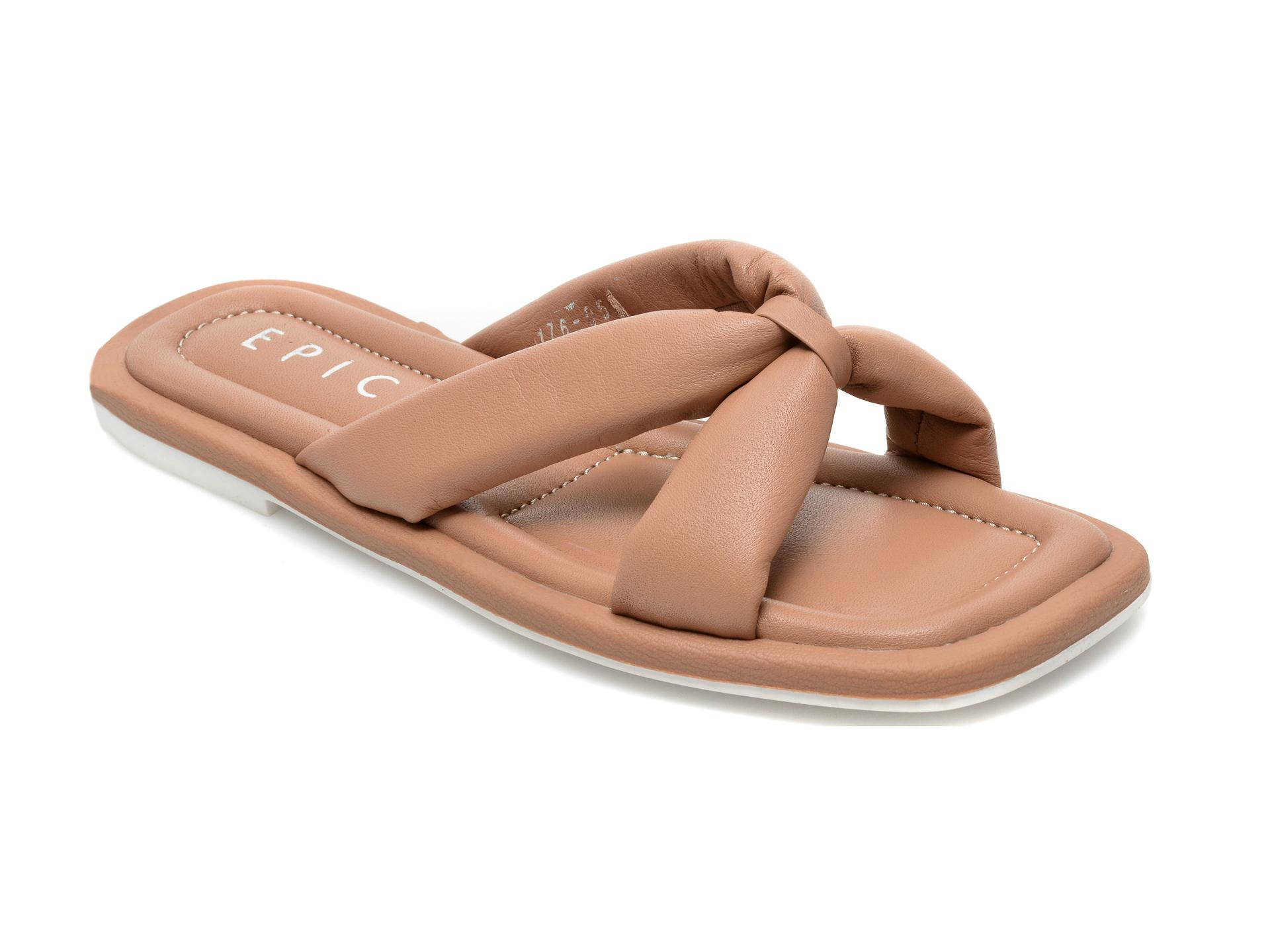 Papuci EPICA maro, 17605, din piele naturala imagine otter.ro 2021