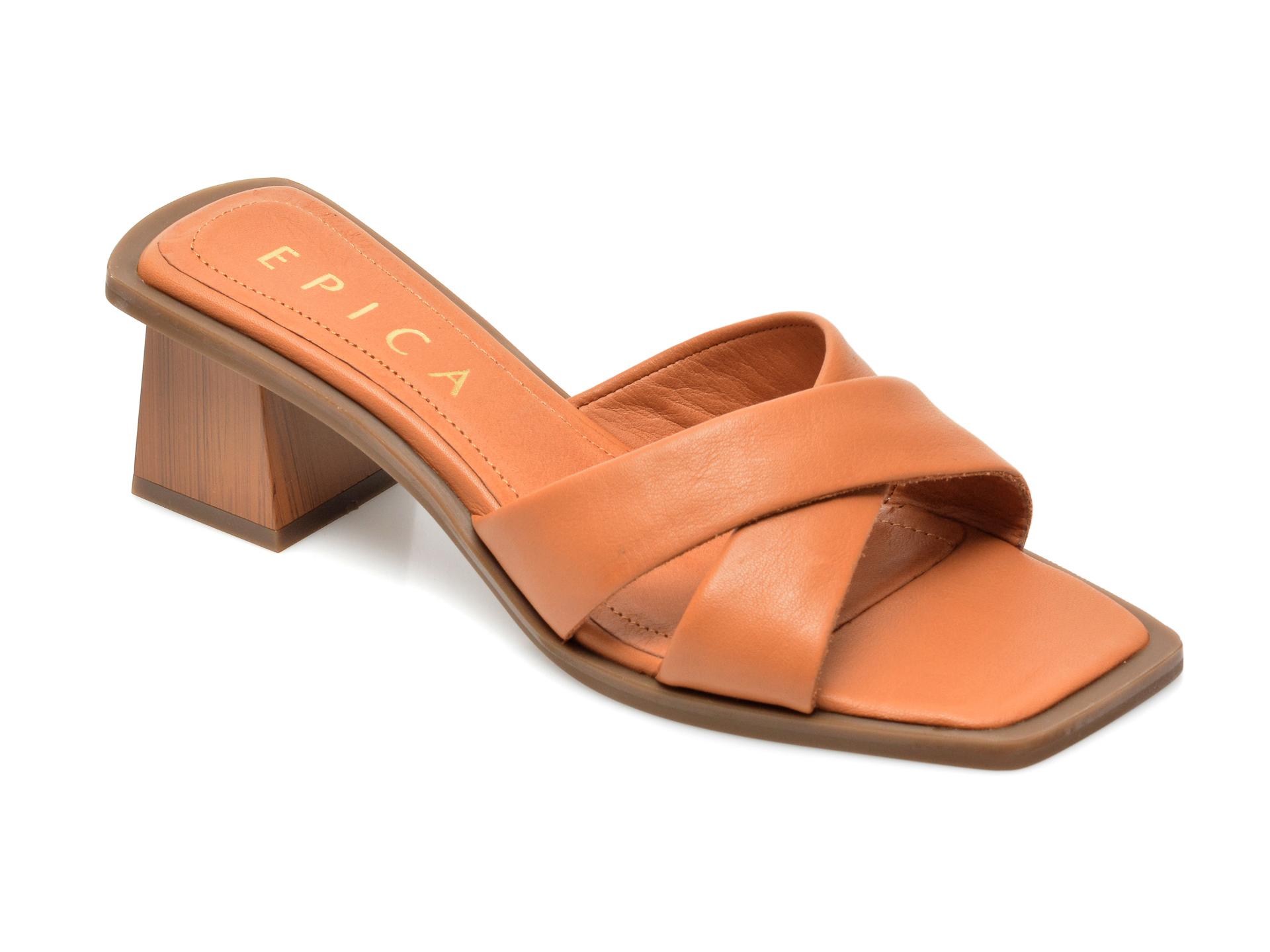 Papuci EPICA maro, 4131, din piele naturala imagine otter.ro 2021