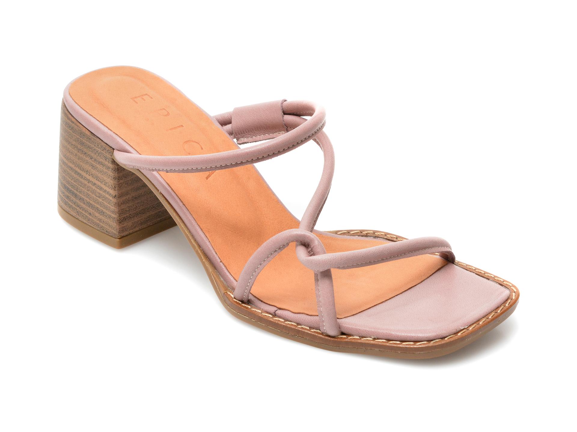 Papuci EPICA mov, 15101, din piele naturala