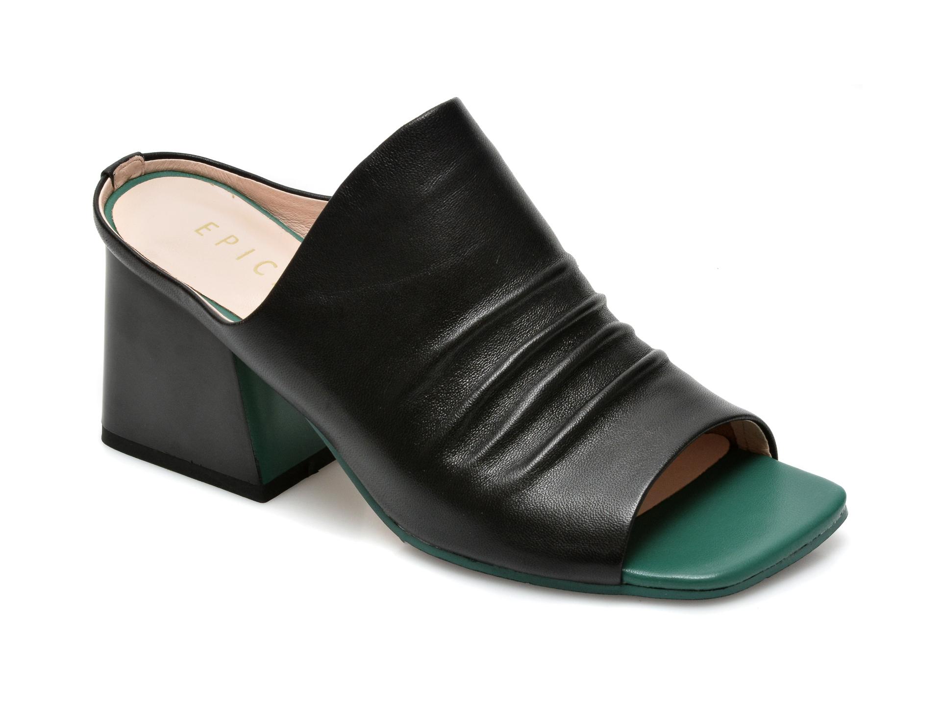 Papuci EPICA negri, 3B202C3, din piele naturala imagine otter.ro 2021