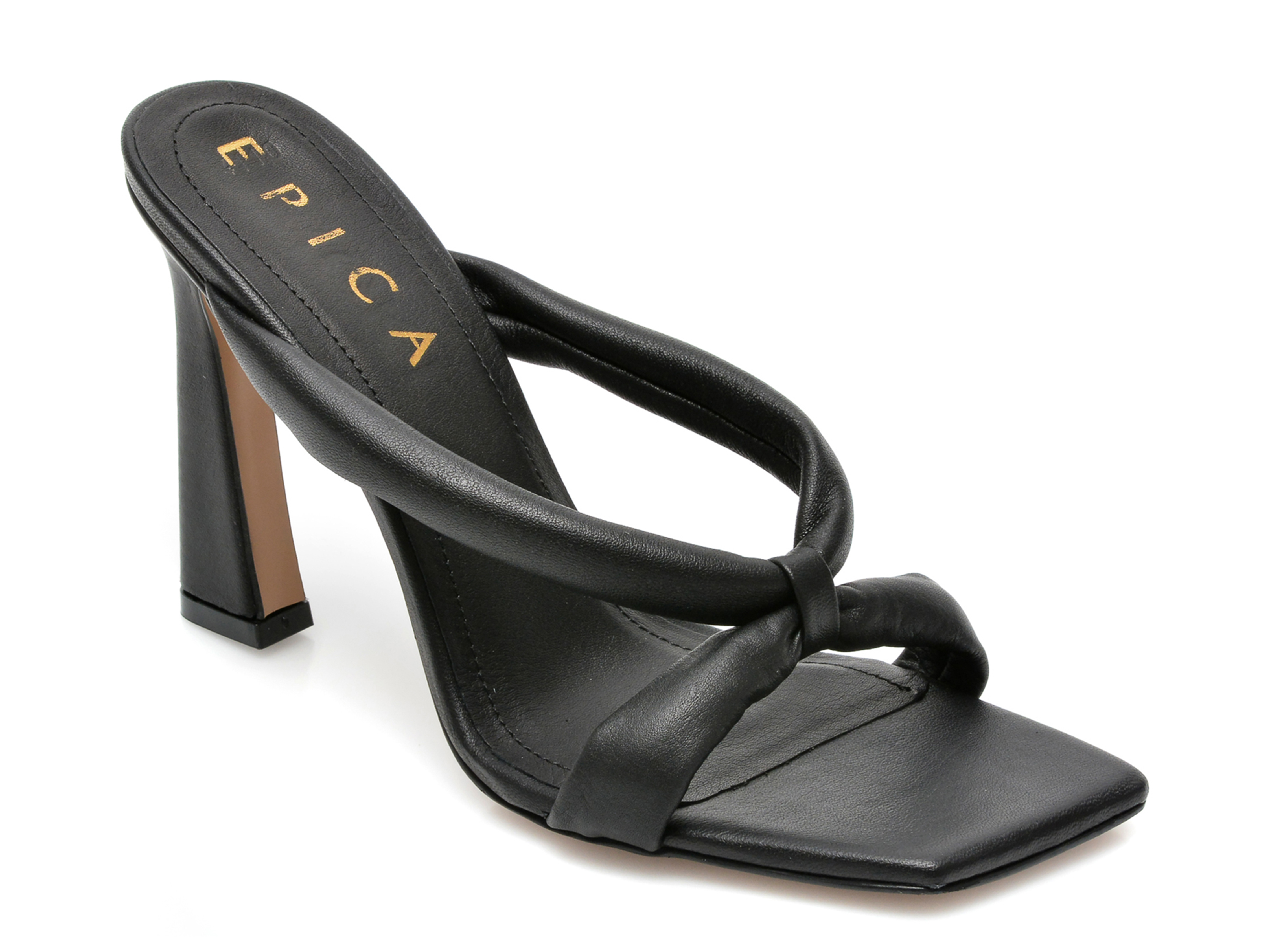 Papuci EPICA negri, 4142, din piele naturala imagine otter.ro 2021