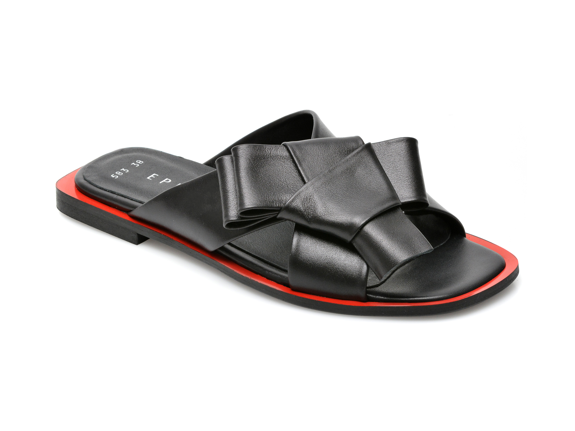 Papuci EPICA negri, 529583, din piele naturala imagine otter.ro 2021