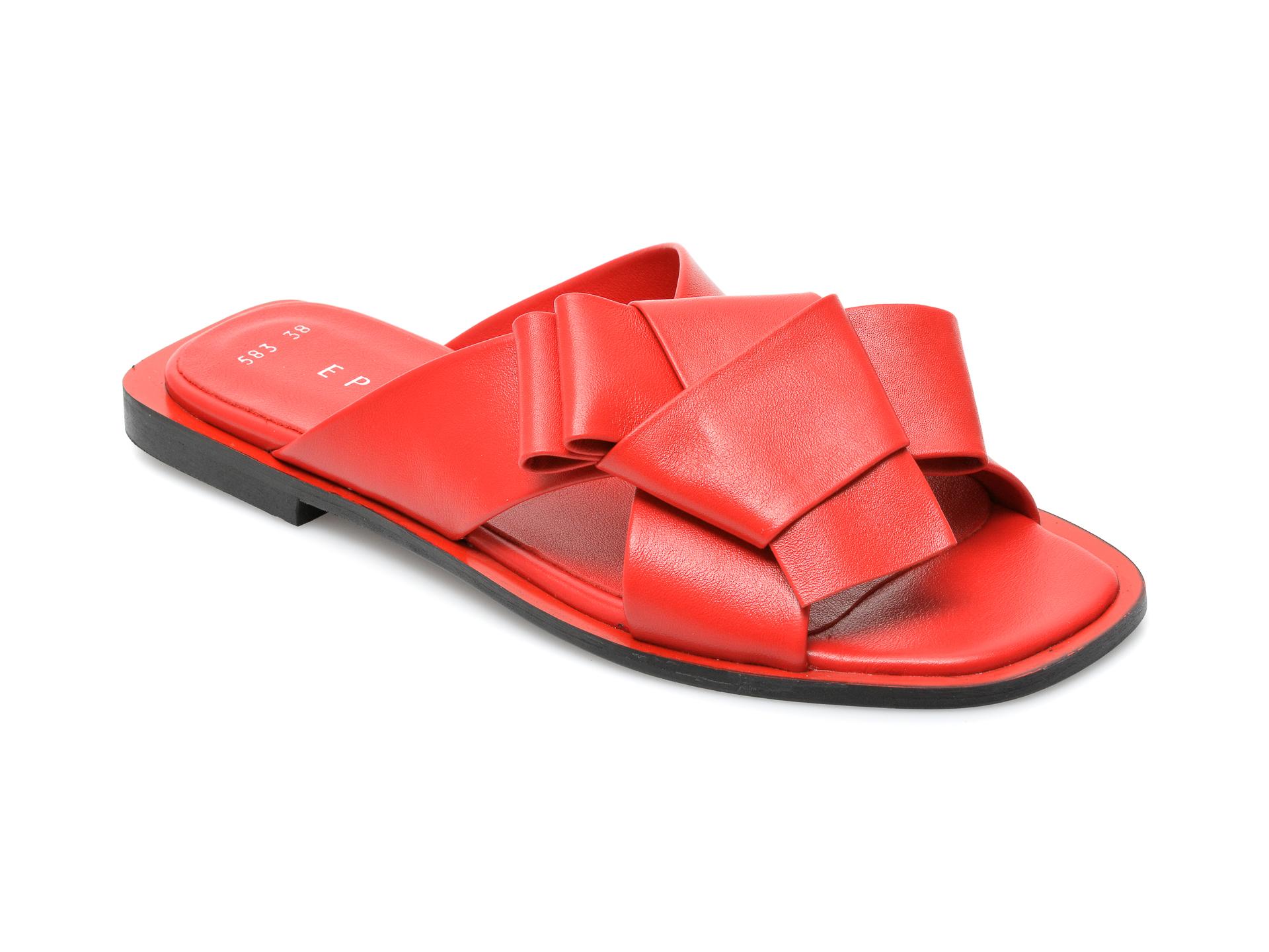 Papuci EPICA rosii, 529583, din piele naturala imagine otter.ro 2021