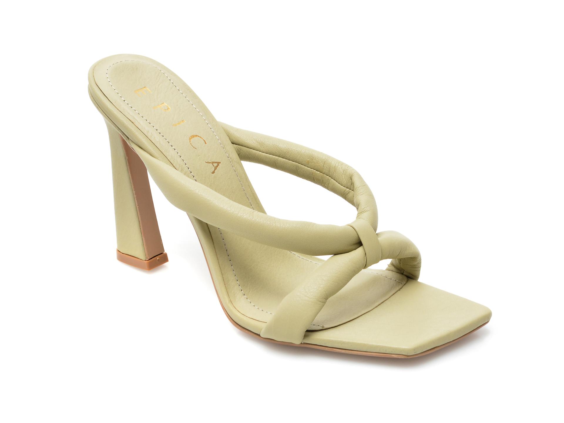 Papuci EPICA verzi, 4142, din piele naturala imagine otter.ro 2021