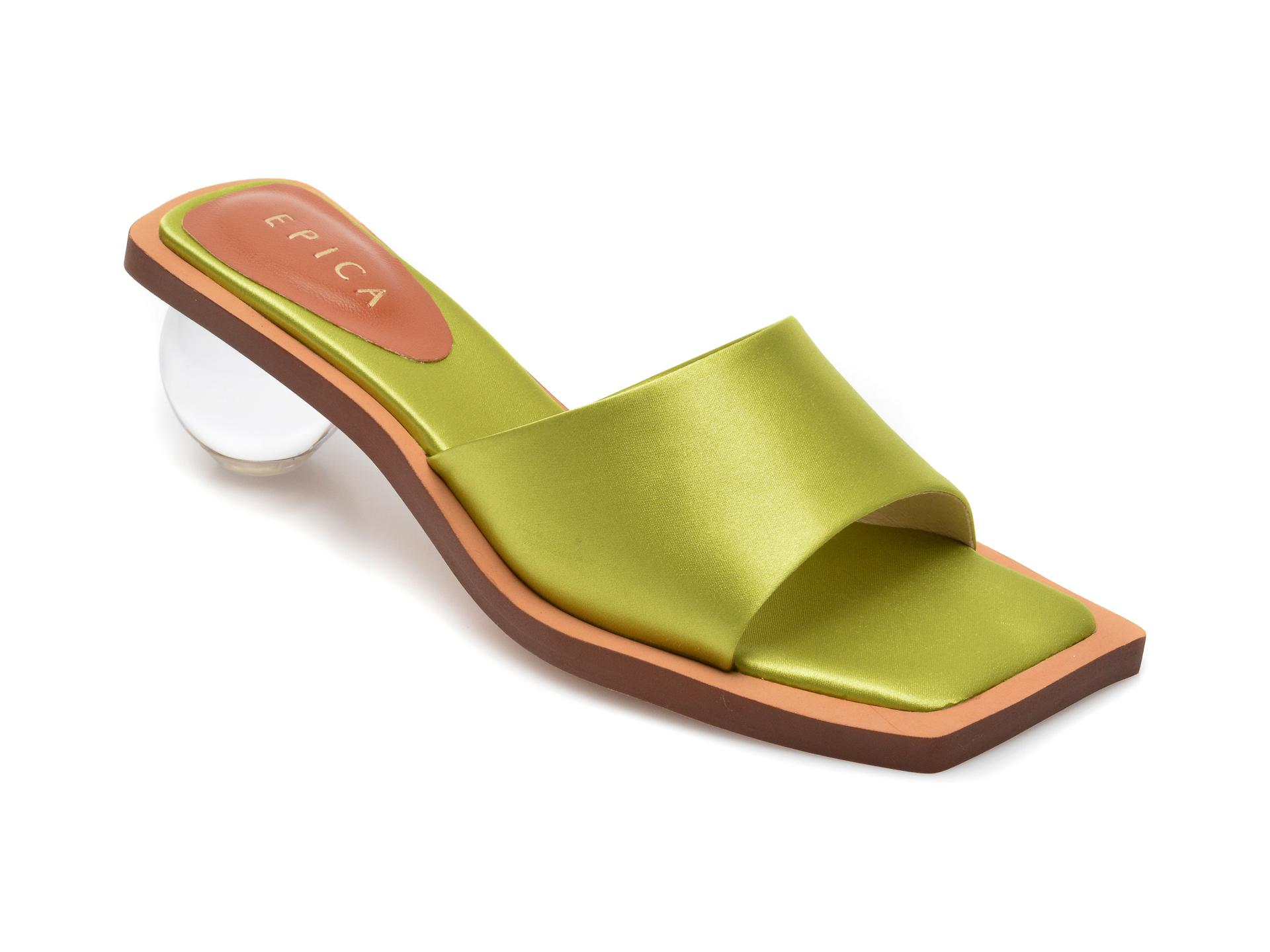 Papuci EPICA verzi, L306D62, din material textil imagine otter.ro 2021