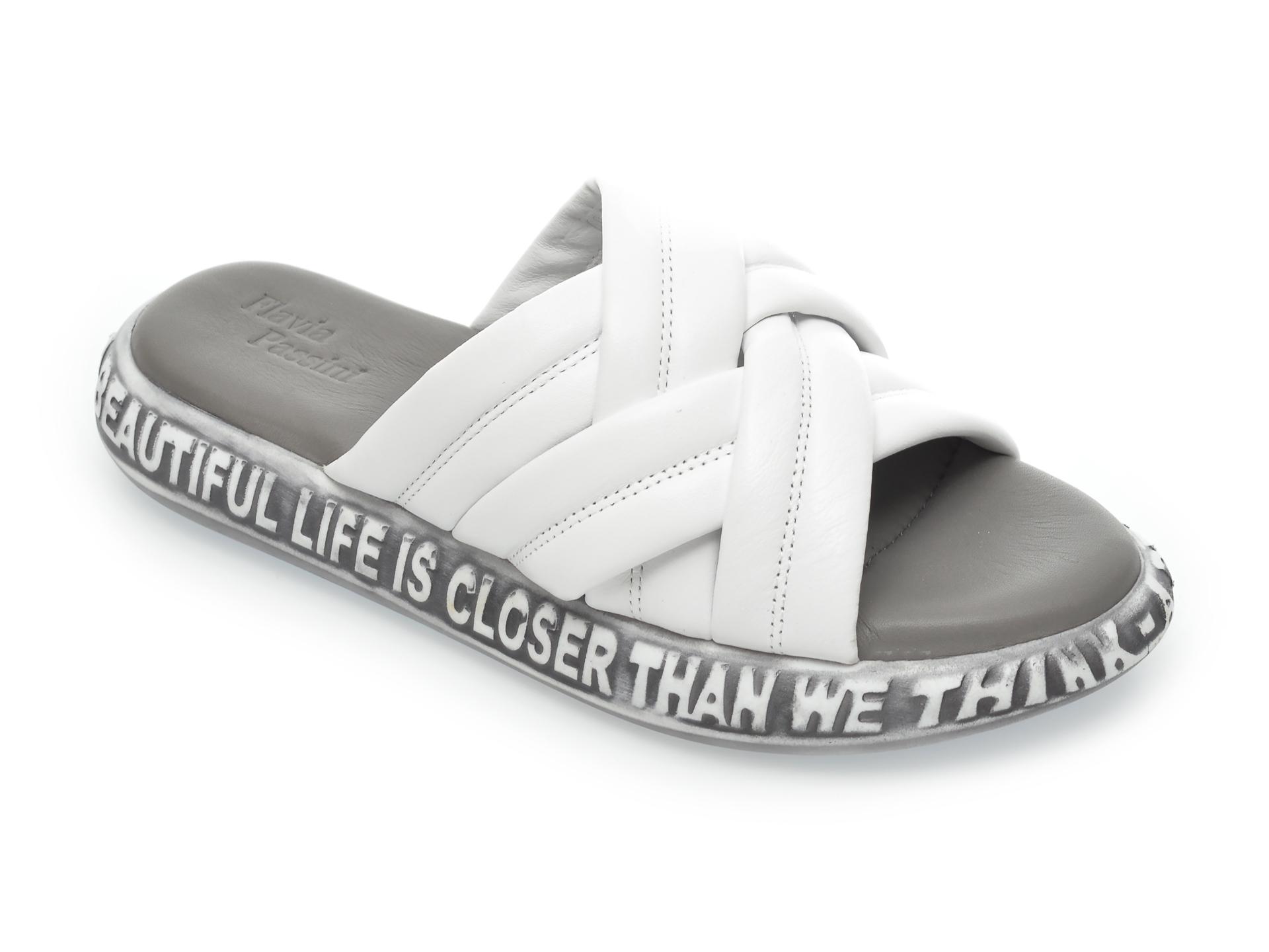 Papuci FLAVIA PASSINI albi, 60006, din piele naturala