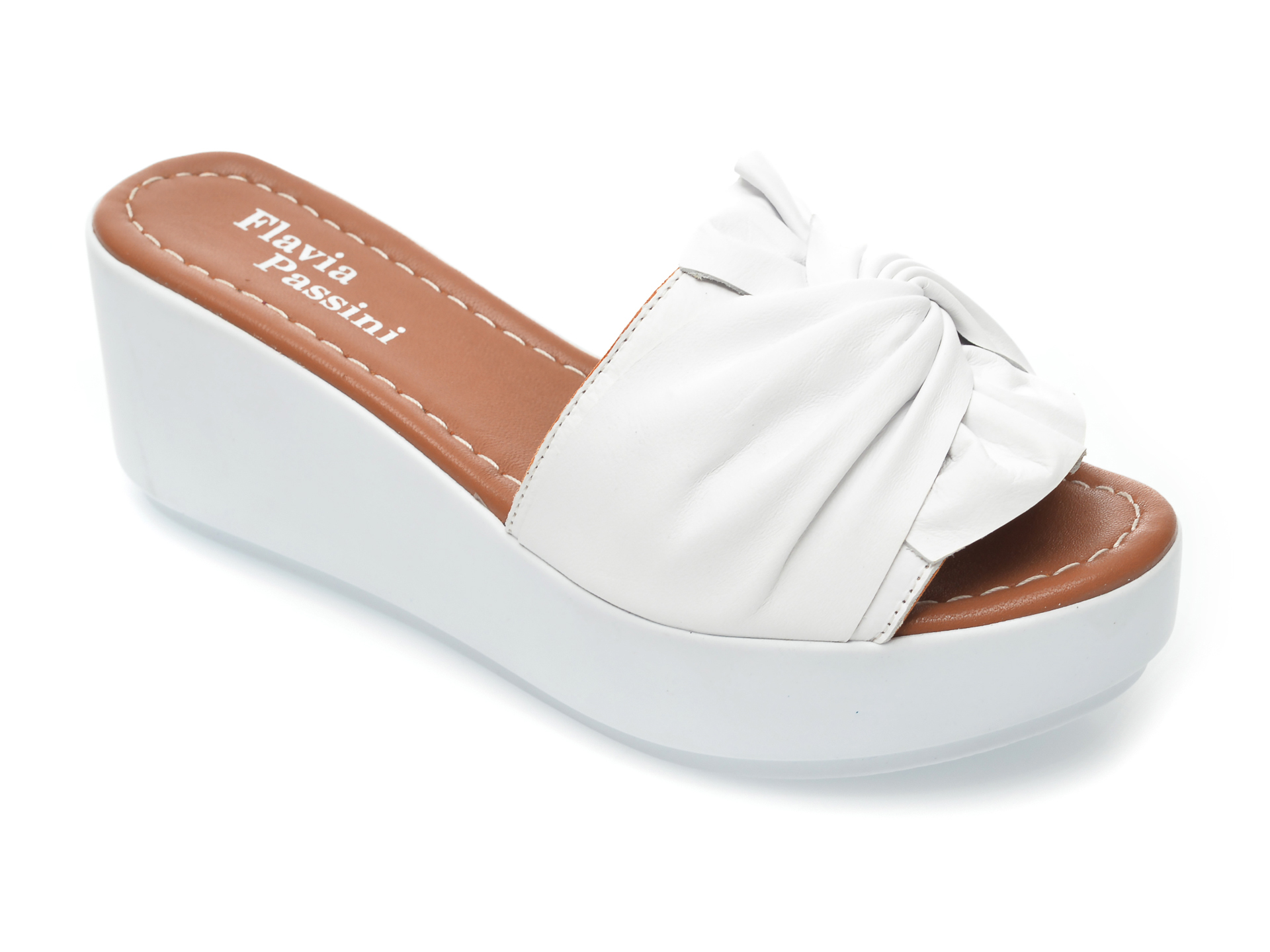 Papuci FLAVIA PASSINI albi, 810, din piele naturala imagine otter.ro