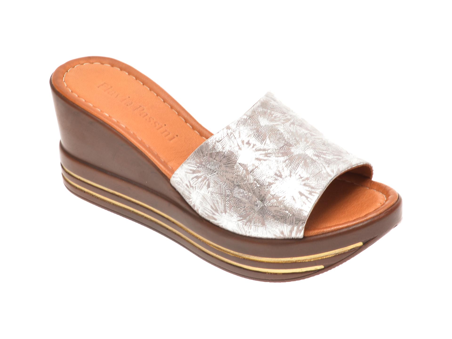 Papuci FLAVIA PASSINI argintii, 1181513, din piele naturala