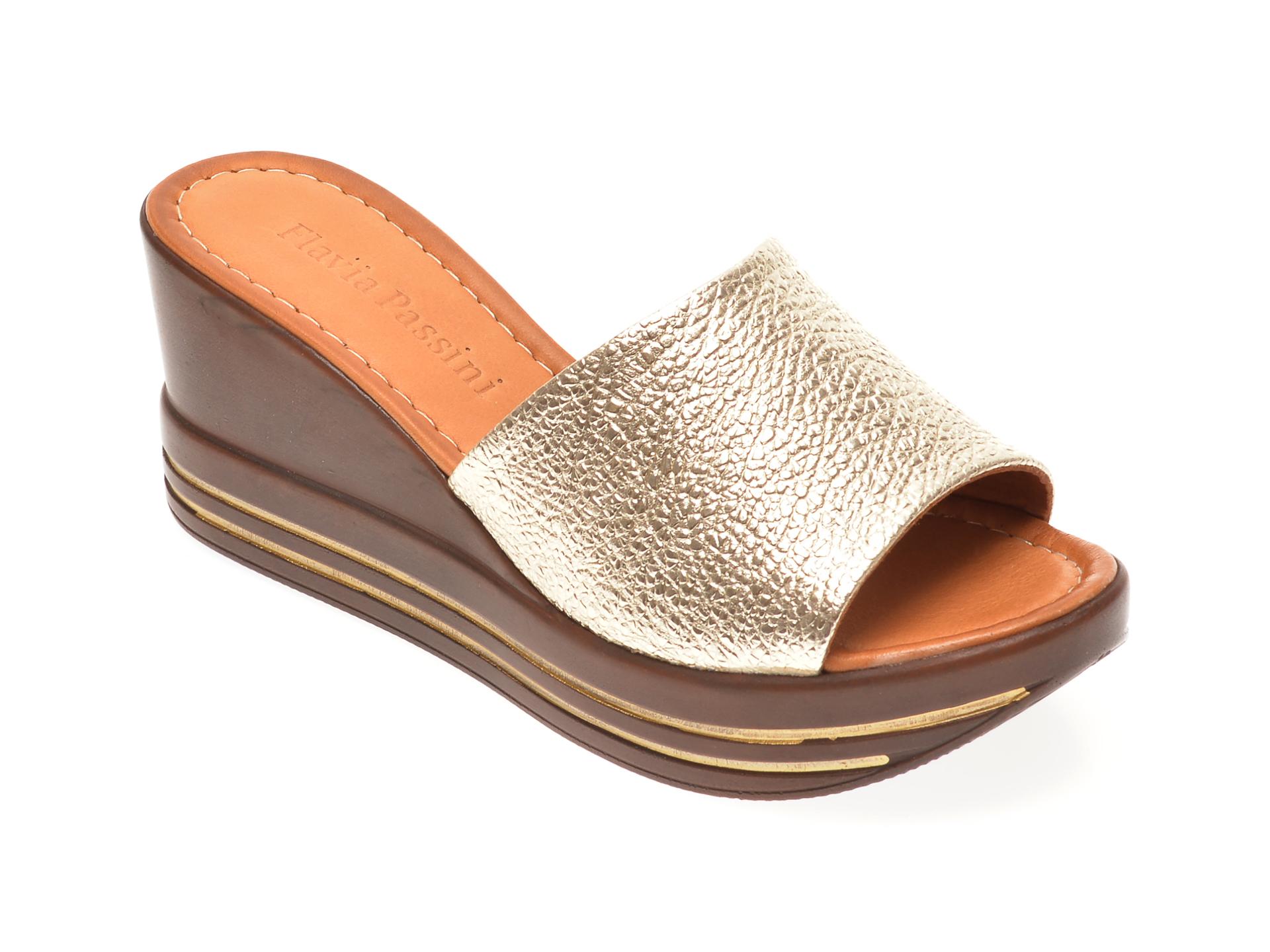 Papuci FLAVIA PASSINI aurii, 1182726, din piele naturala